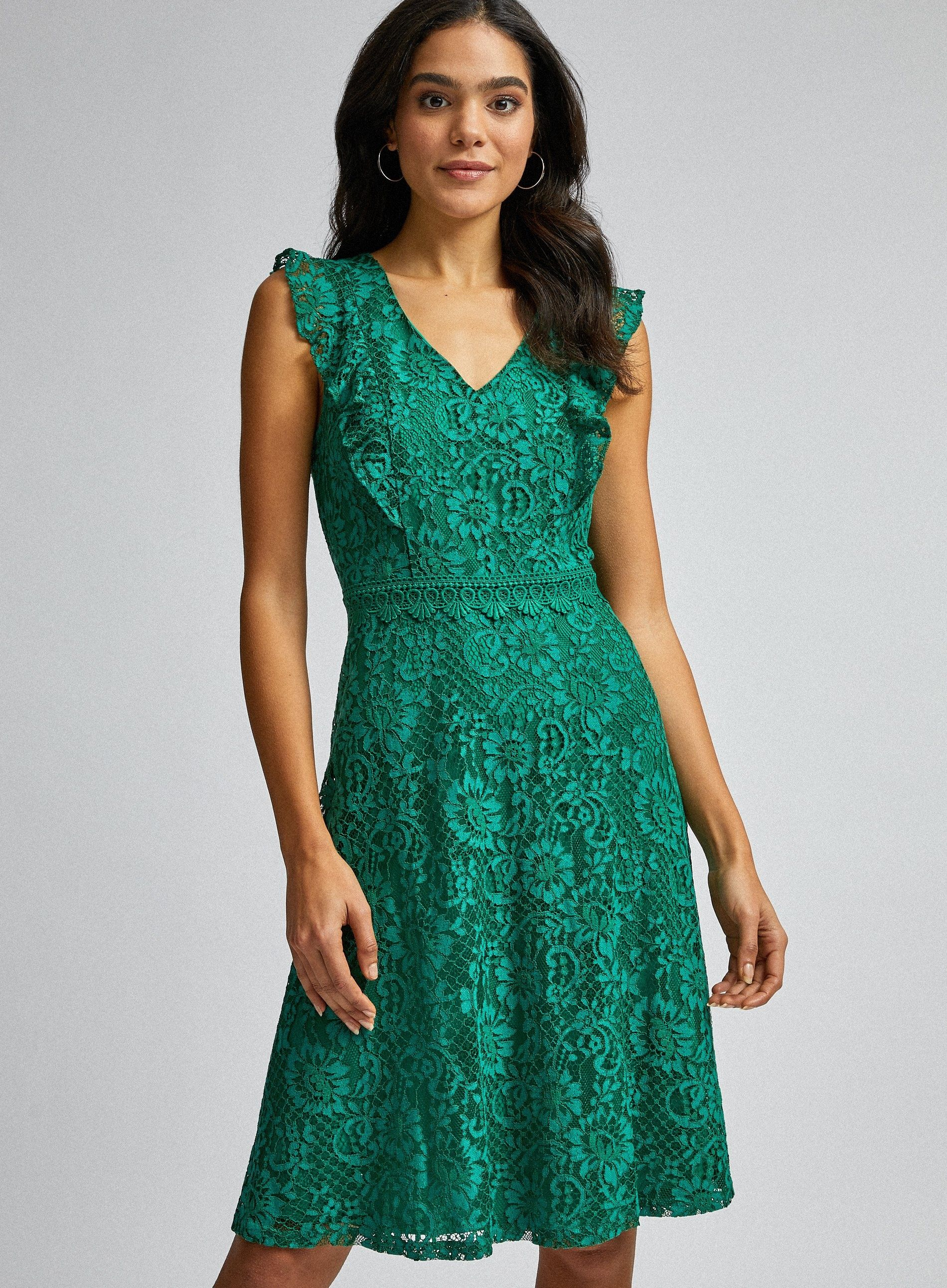 Dorothy Perkins Womens Green Lace Taylor Midi Dress V-Neck Short Sleeve