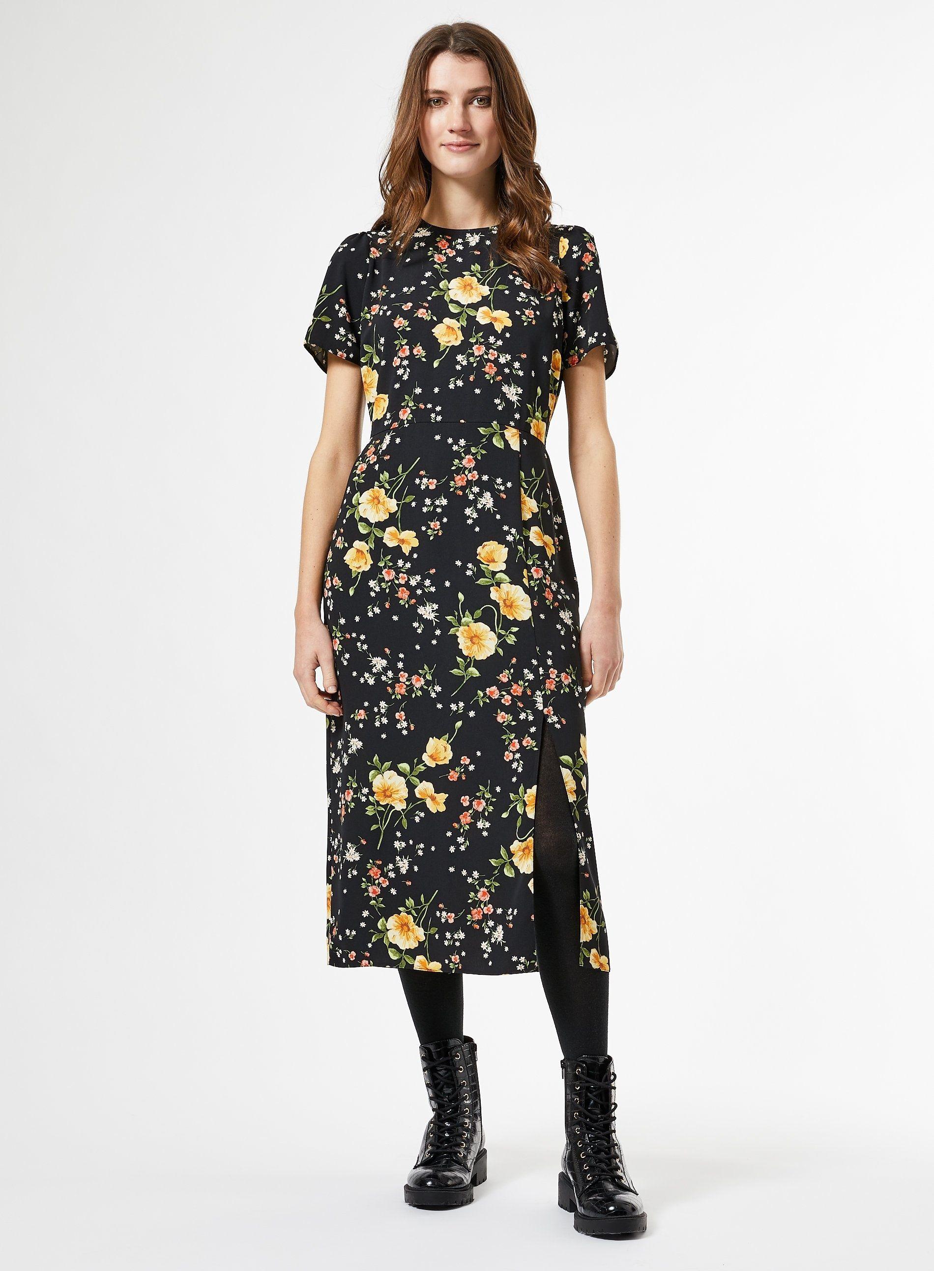 Dorothy Perkins Womens Black Floral Empire Seam Split Midi Dress Round Neck