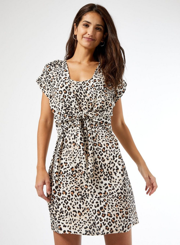 Dorothy Perkins Womens Multi Coloured Leopard Print Tie Front Short Sleeve Dress