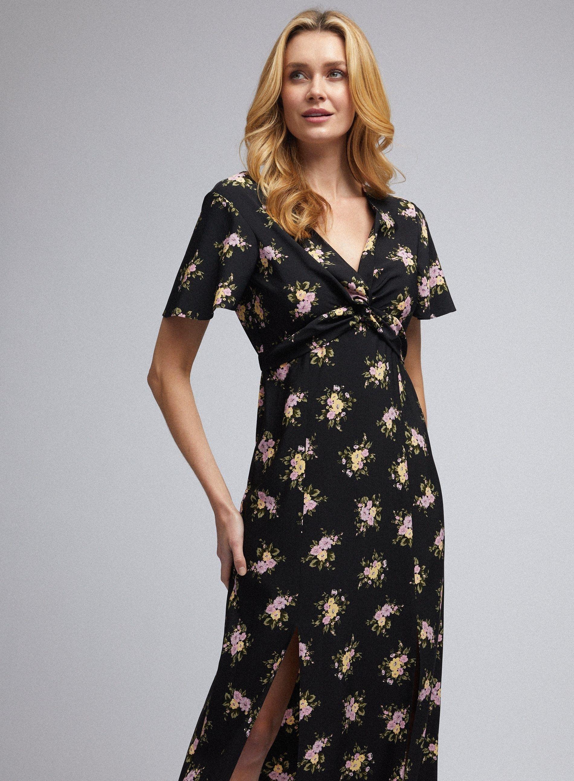 Dorothy Perkins Womens Black Floral Print Tea Midi Dress V-Neck Short Sleeve