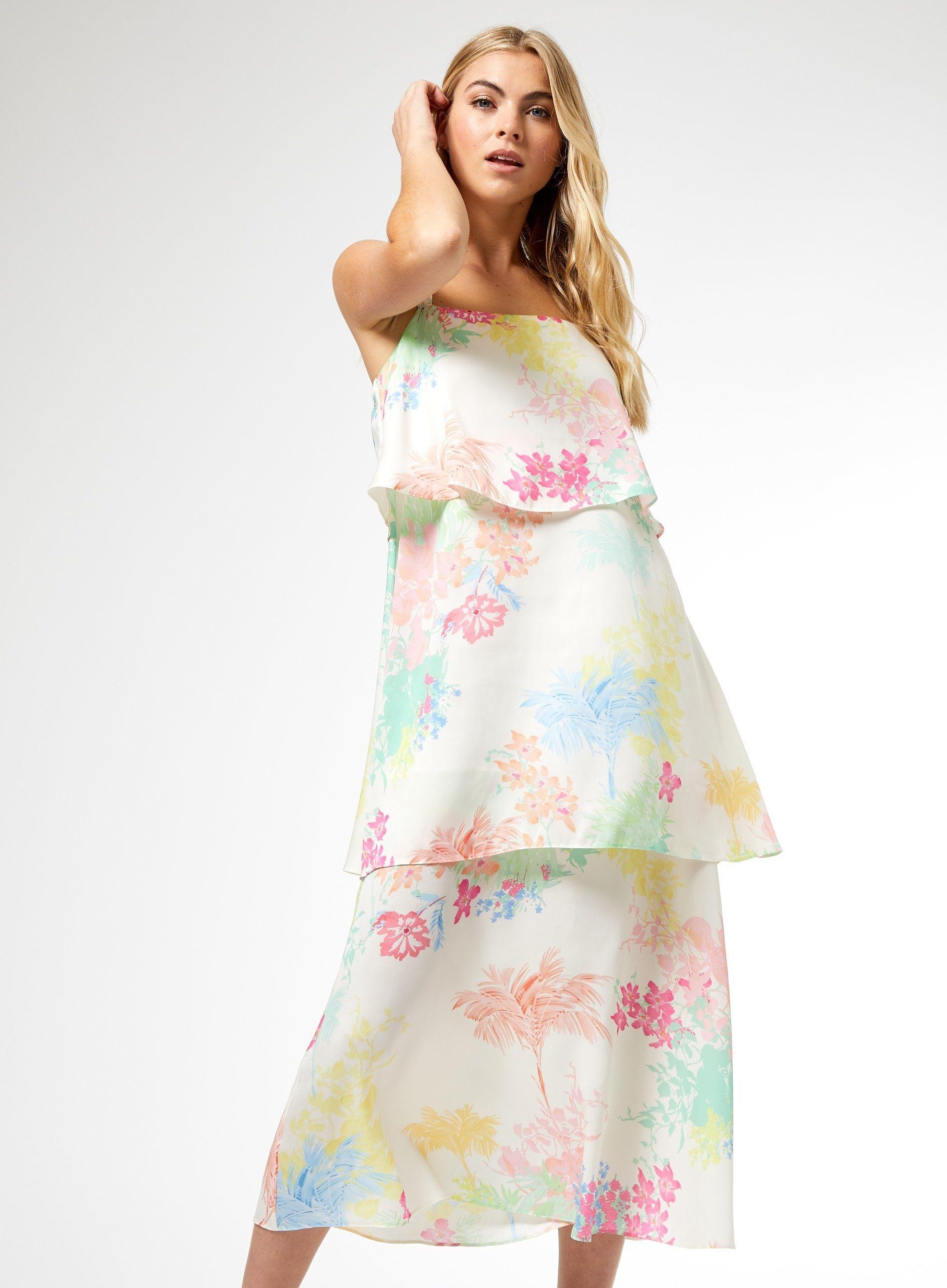 Dorothy Perkins Womens Ivory Tropical Print Satin Tiered Maxi Dress Sleeveless