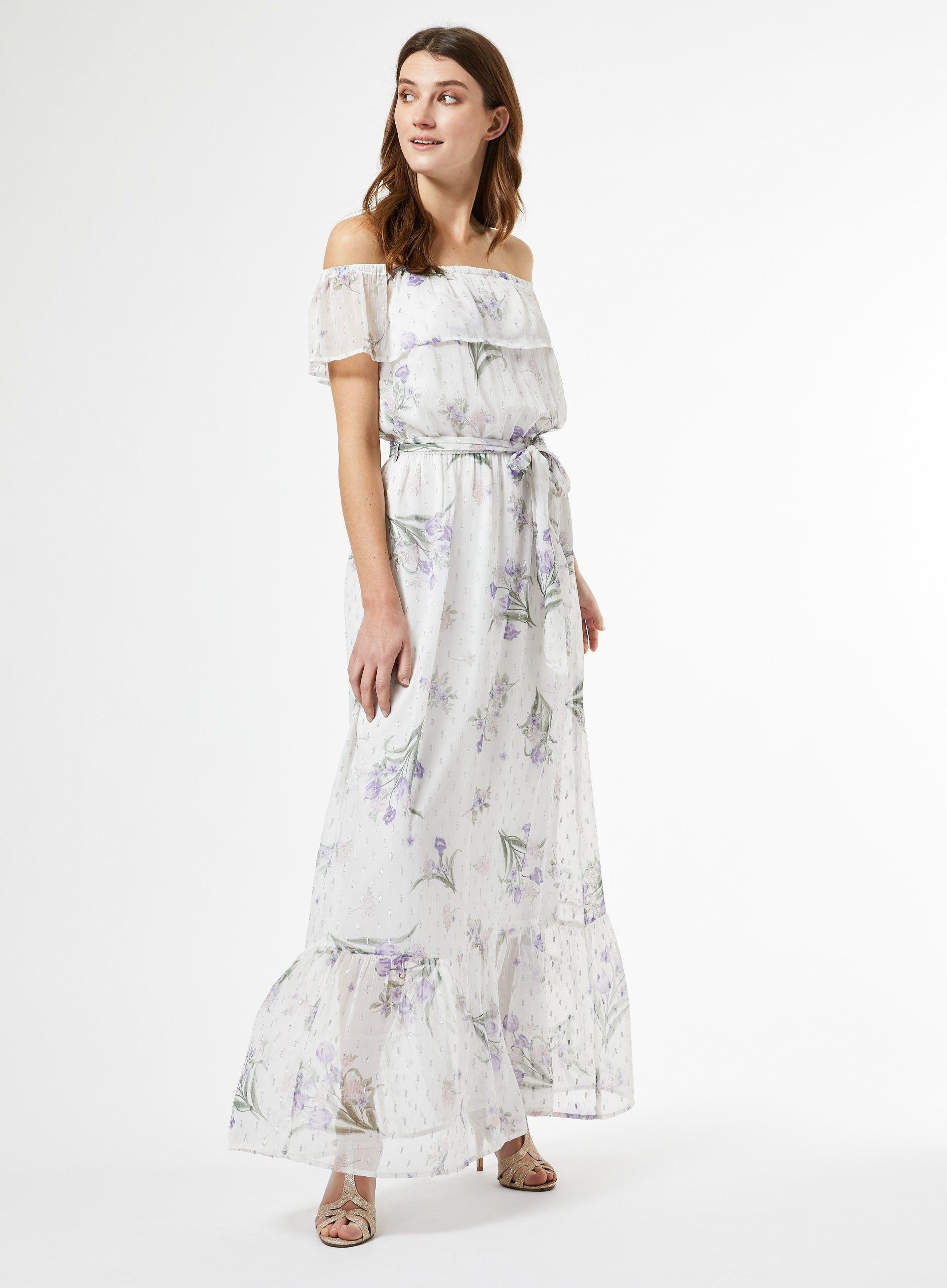 Dorothy Perkins Womens White Chiffon Print Bardot Maxi Dress Short Sleeve