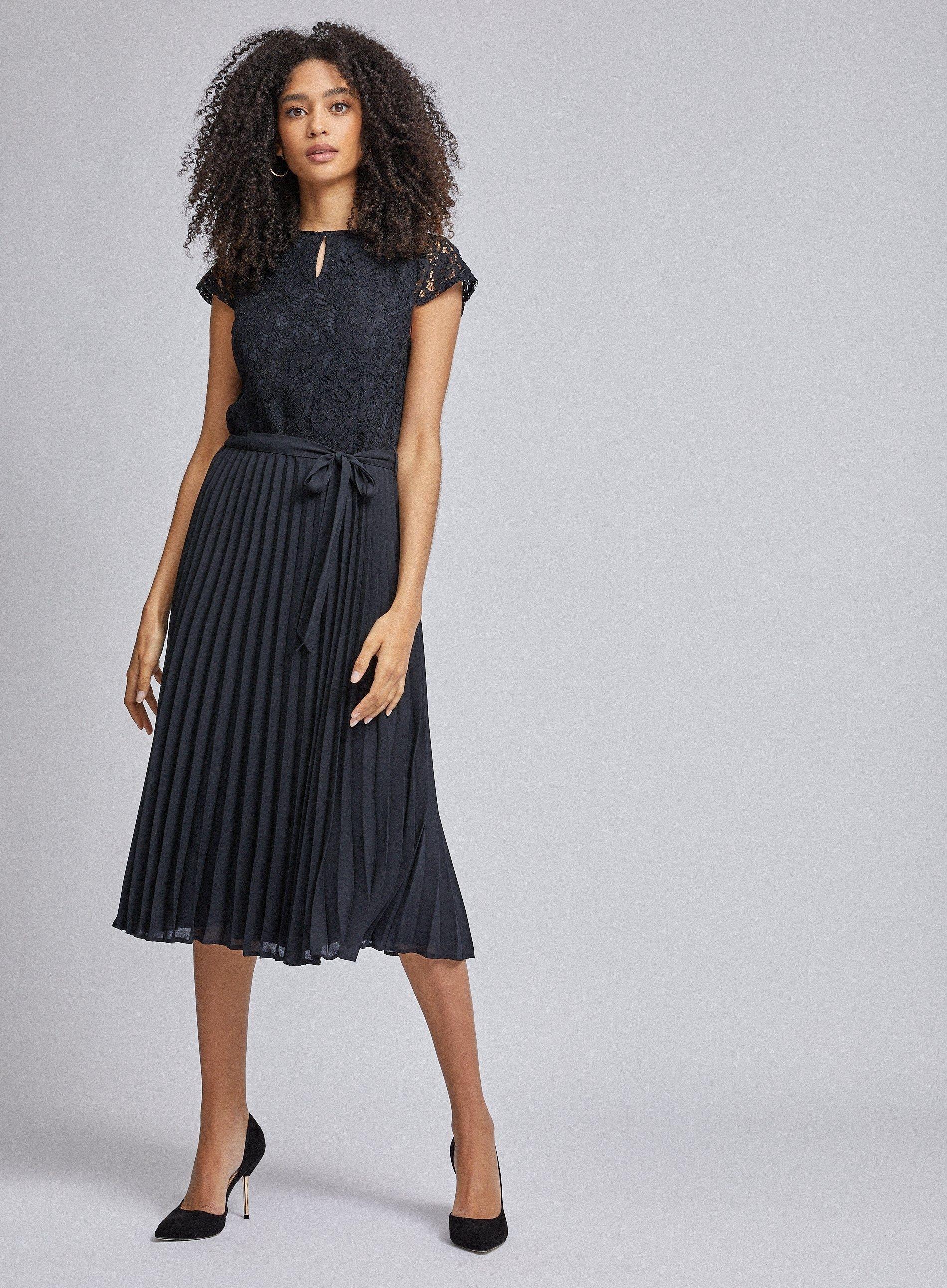 Dorothy Perkins Womens Blue Pleated Alice Lace Midi Dress V-Neck Short Sleeve