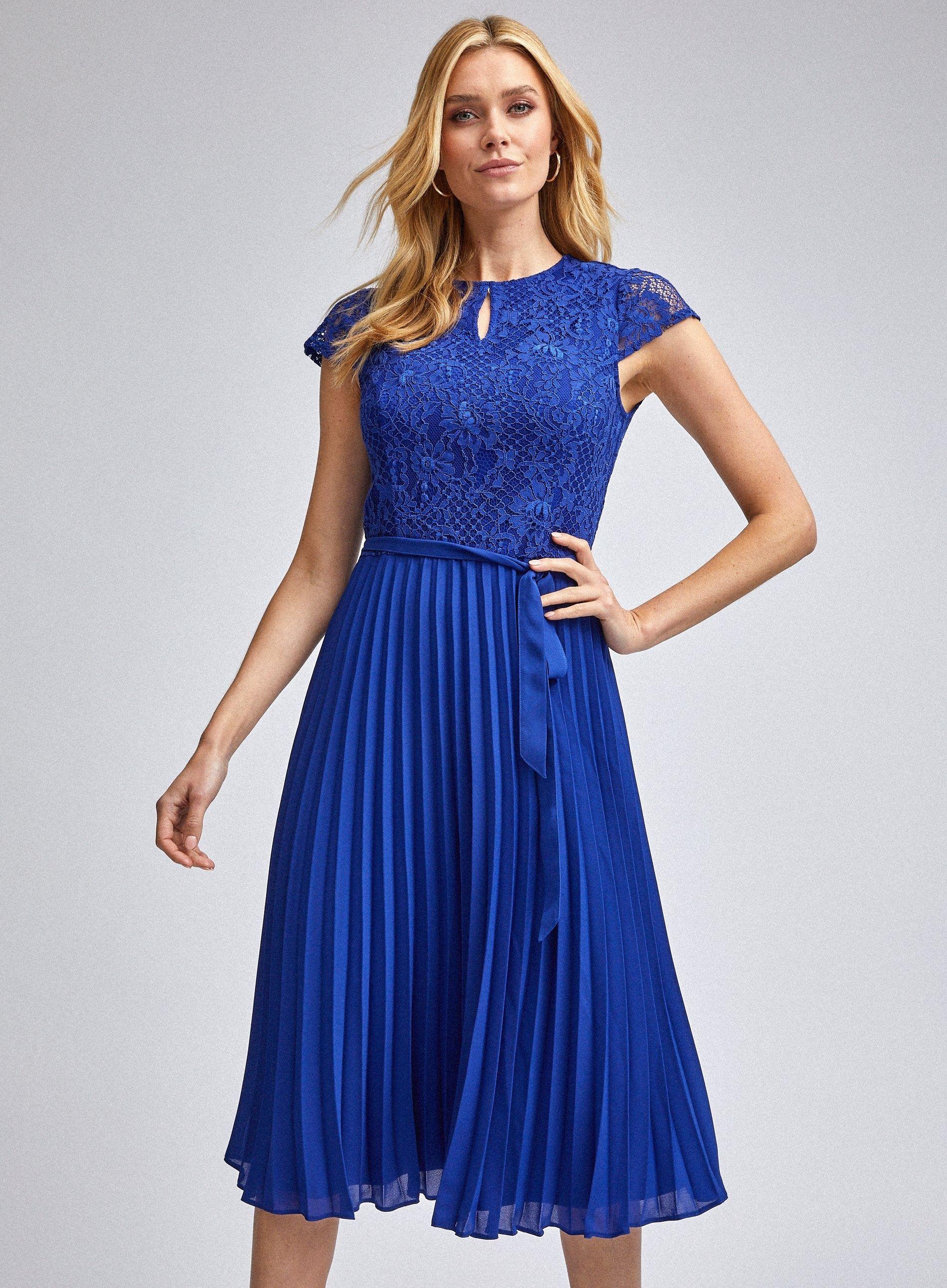 Dorothy Perkins Womens Blue Pleat Alice Lace Midi Dress Short Sleeve Round Neck