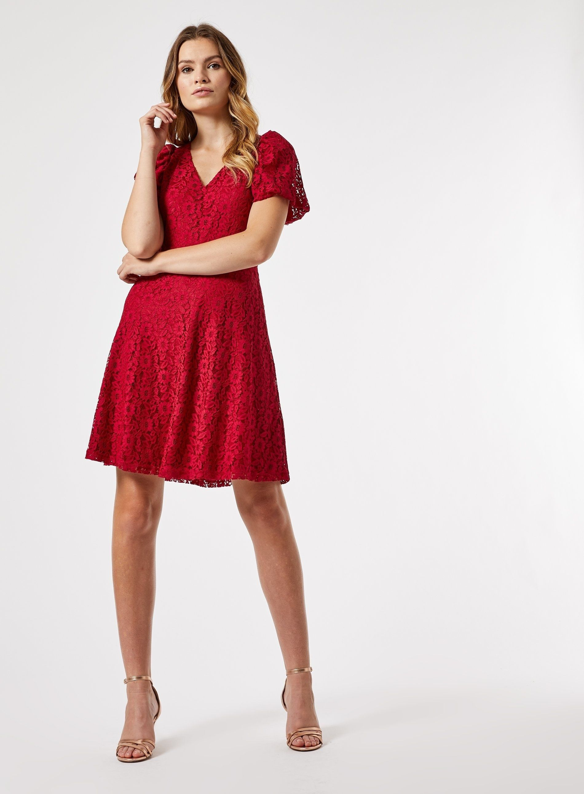 Dorothy Perkins Womens Red Lace Bubble Sleeve Skater Dress V-Neck Loose Fit