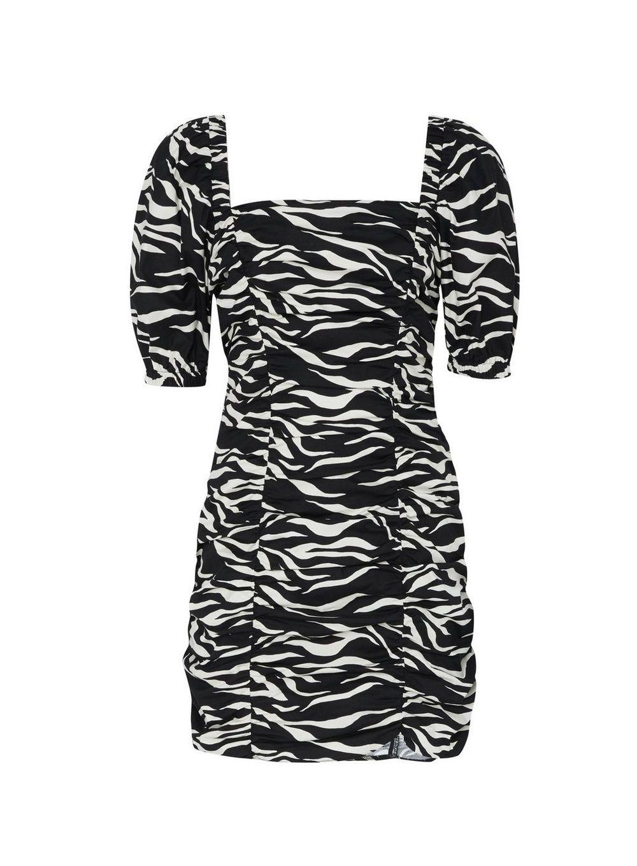 Dorothy Perkins Womens Black and White Zebra Print Ruched Mini Dress Bodycon