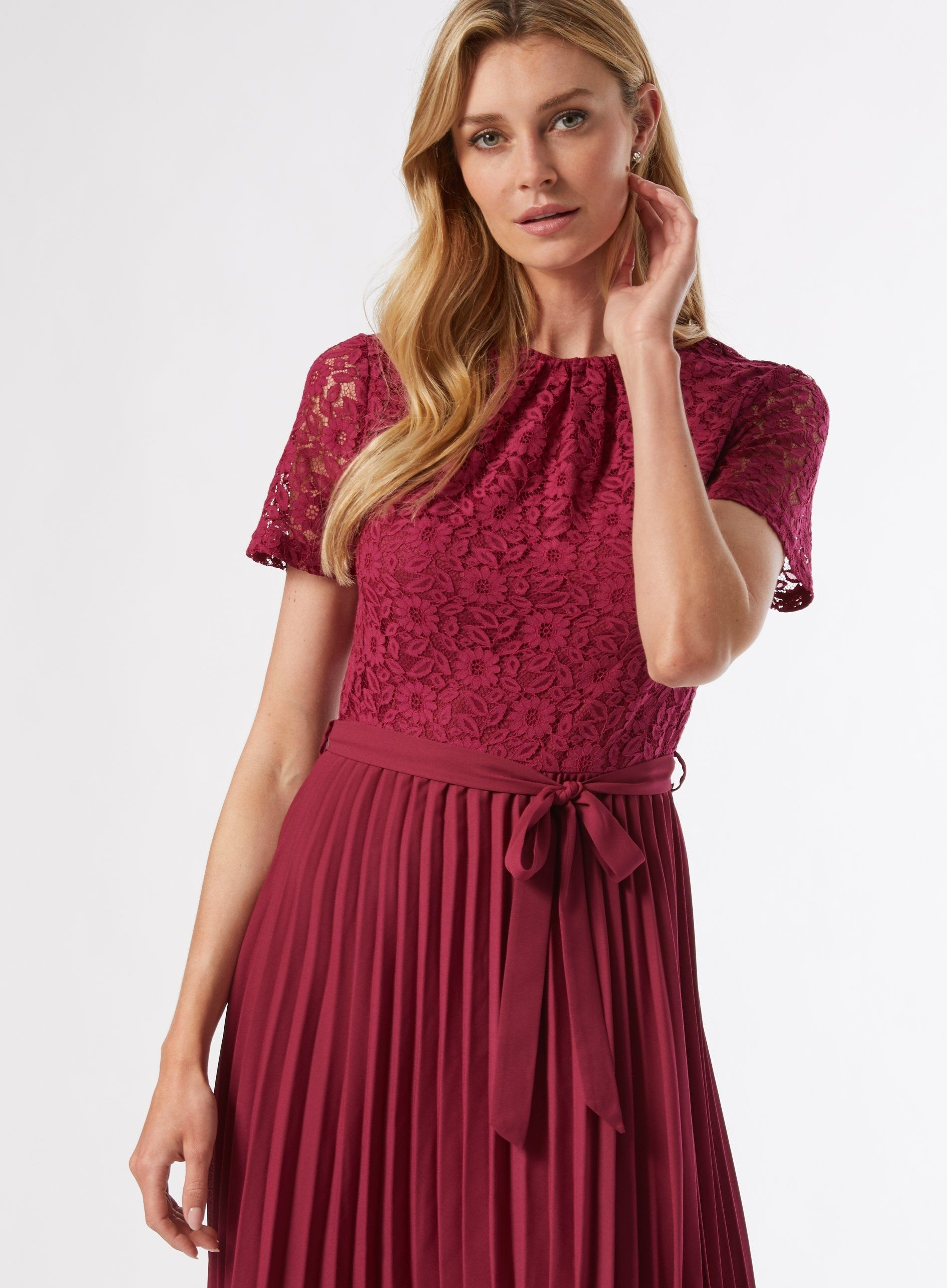 Dorothy Perkins Womens Raspberry Lace Pleat Dress Short Sleeve Round Neck