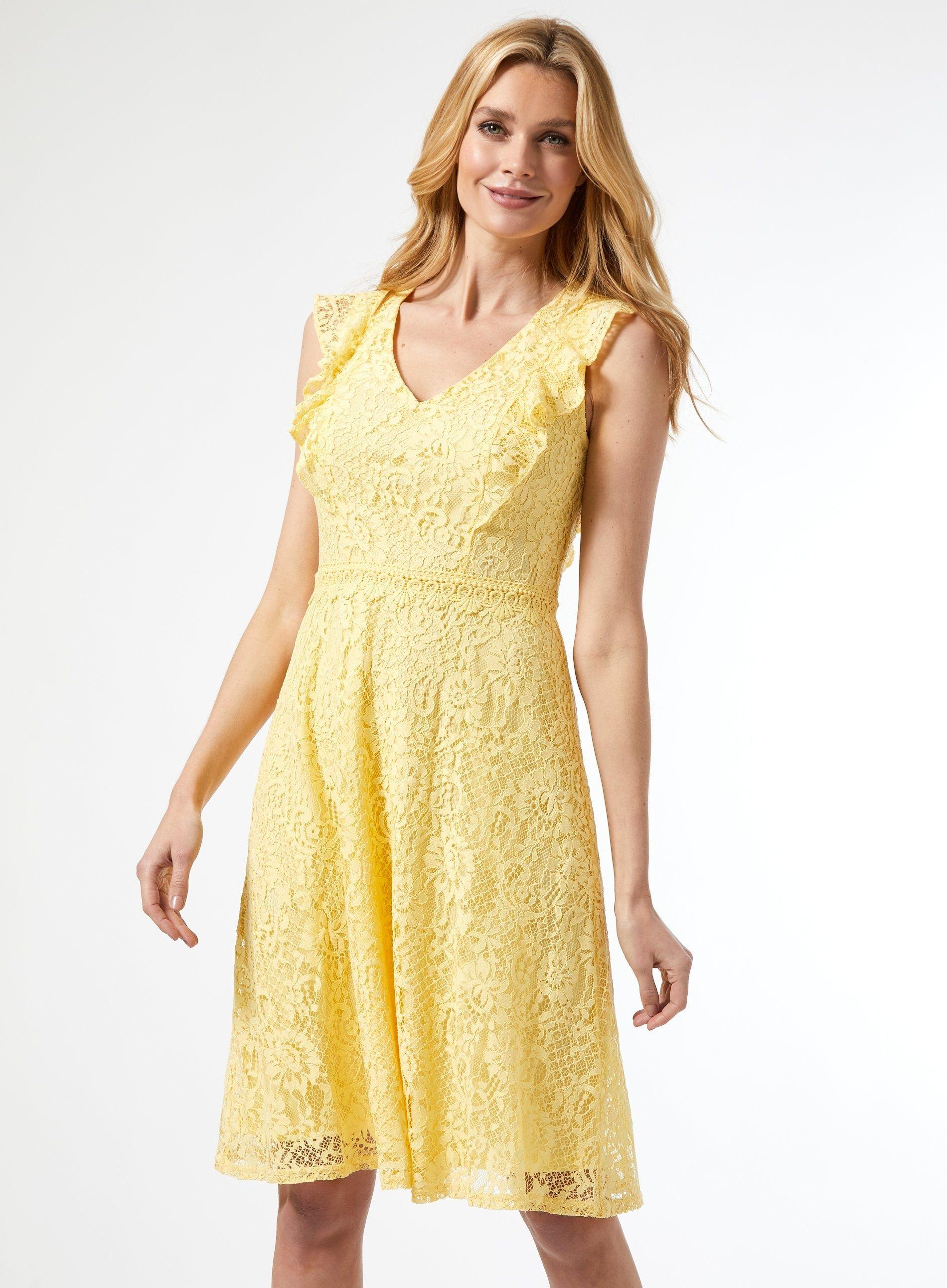 Dorothy Perkins Womens Yellow Lace Taylor Skater Dress Knee-Long V-Neck Back Zip