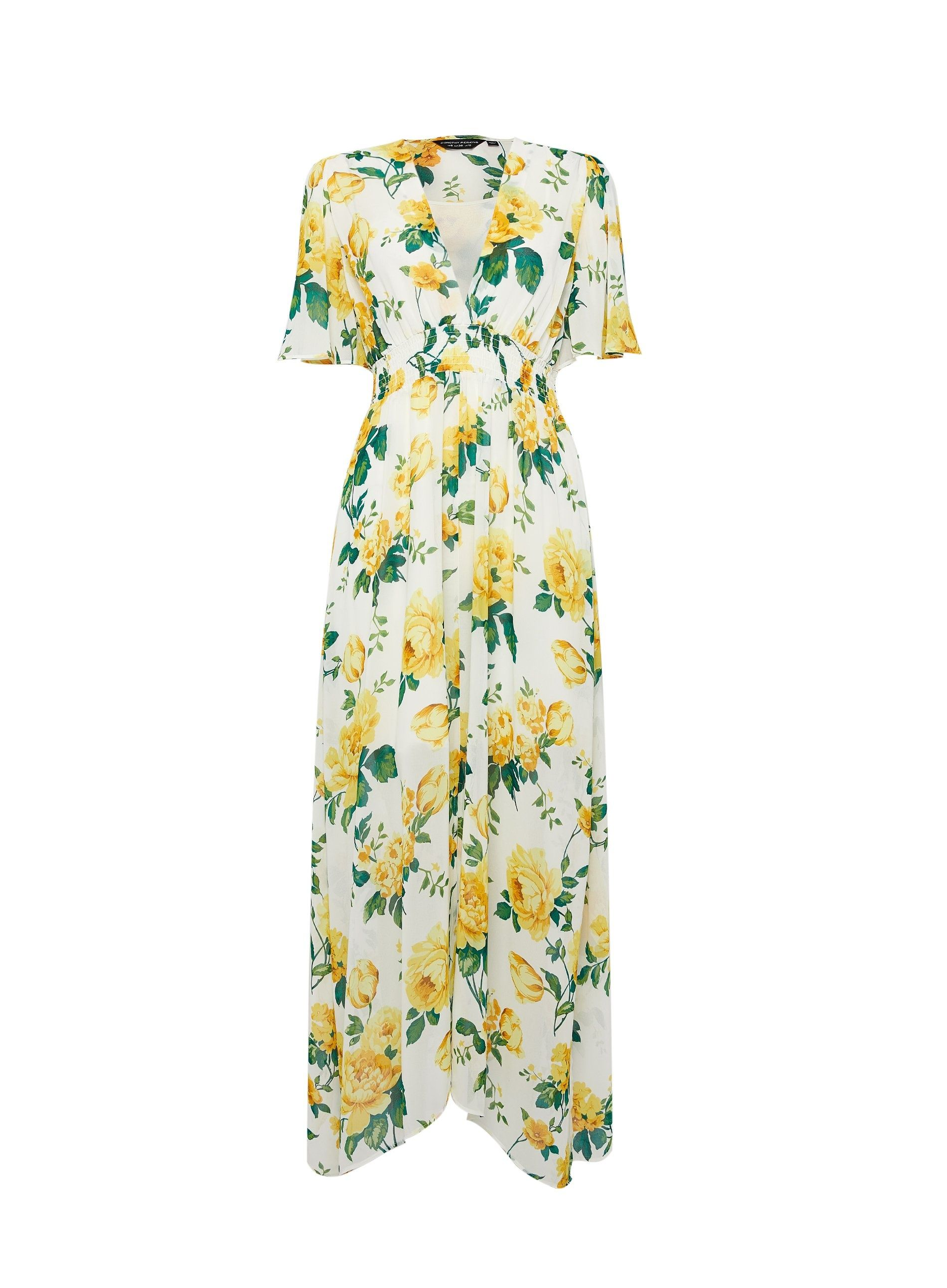 Dorothy Perkins Womens Yellow Floral Print Midi Short Sleeve V Neck Dress