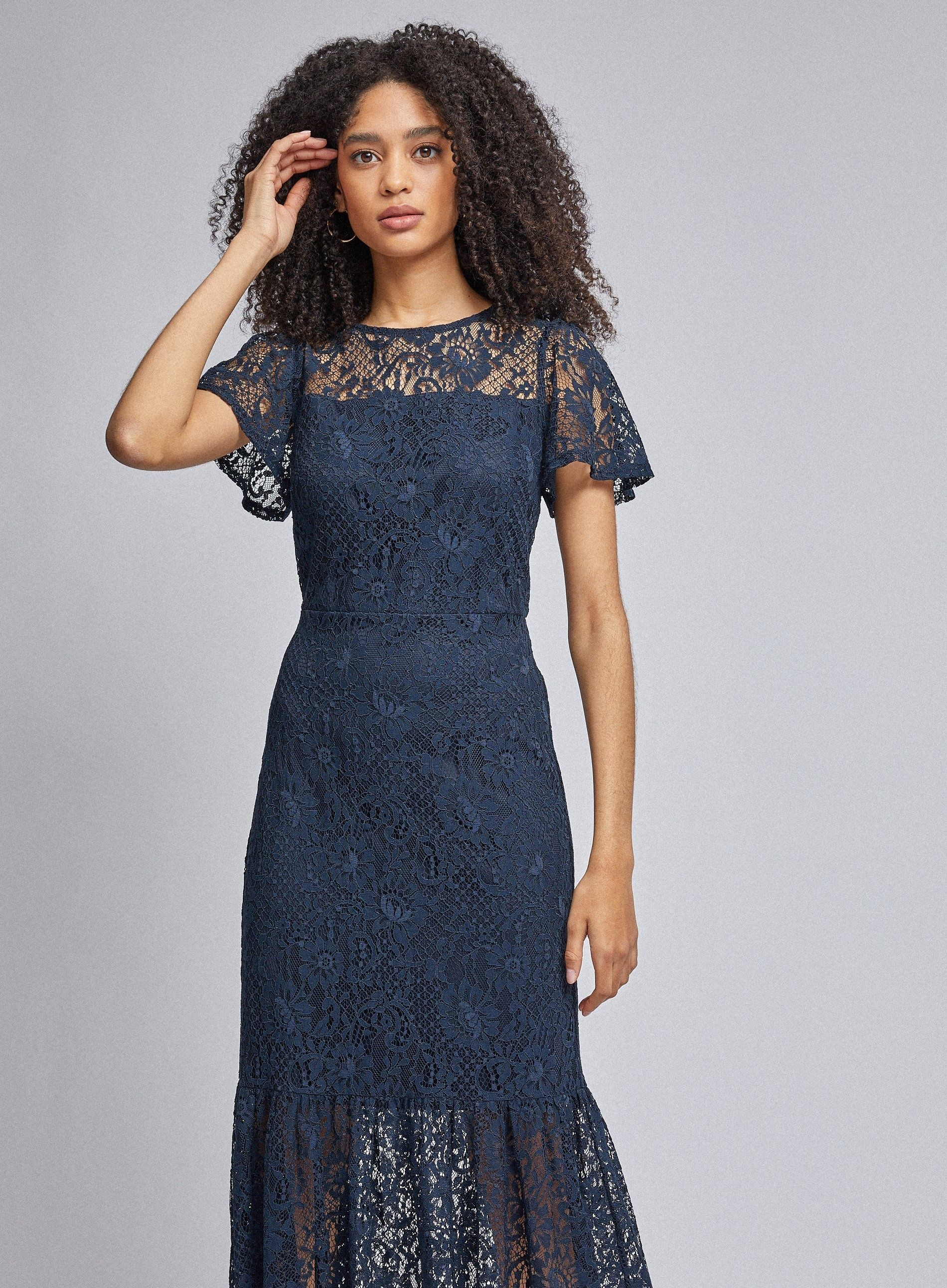 Dorothy Perkins Womens Blue Lace Peplum Midi Dress Round Neck Short Sleeve