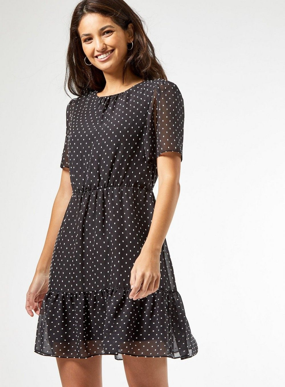 Dorothy Perkins Womens Multi Coloured Dobby Frill Fit and Flare Polka Dot Dress