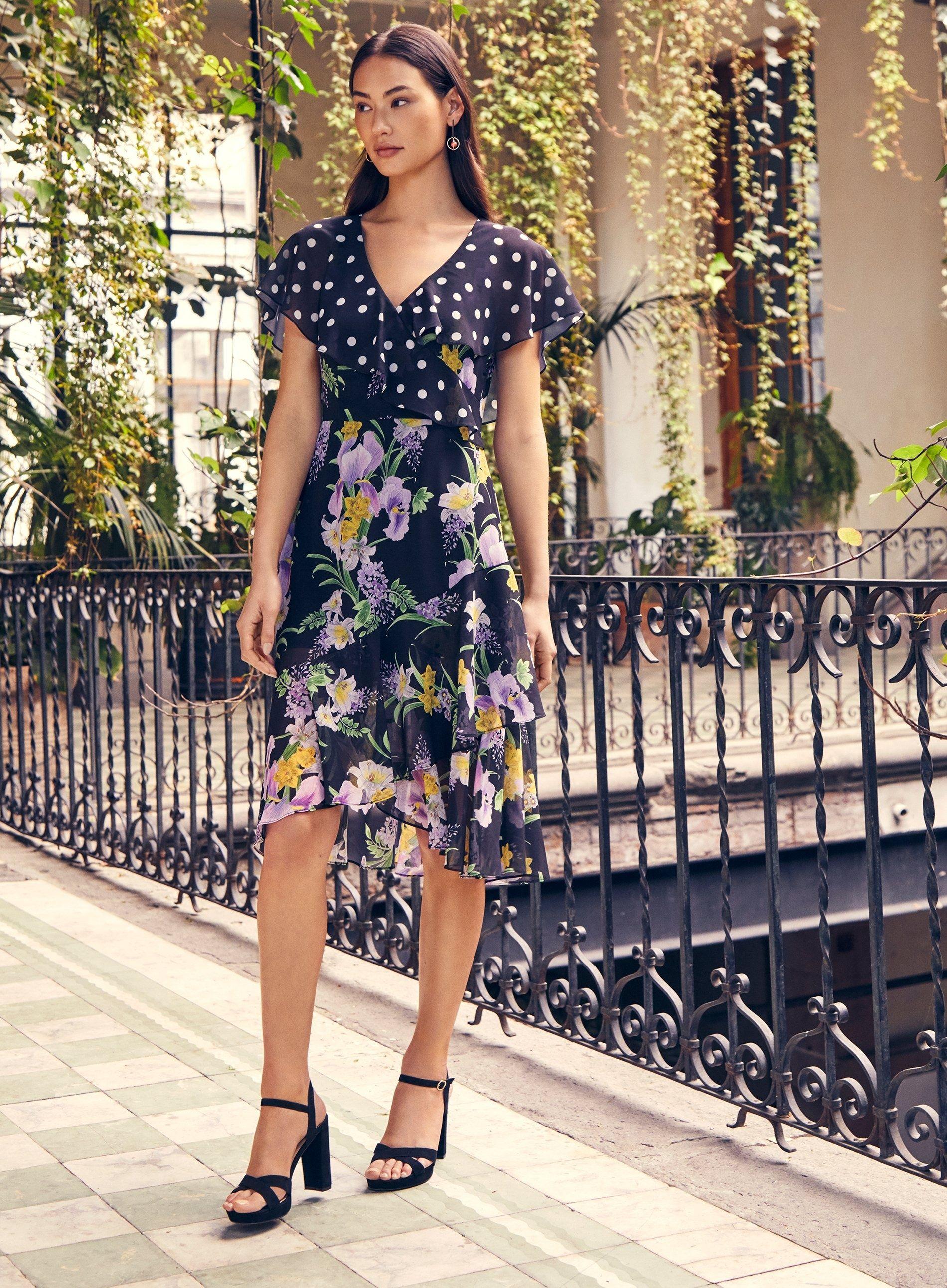 Dorothy Perkins Womens Multi Coloured Mix & Match Wrap Dress V-Neck Short Sleeve