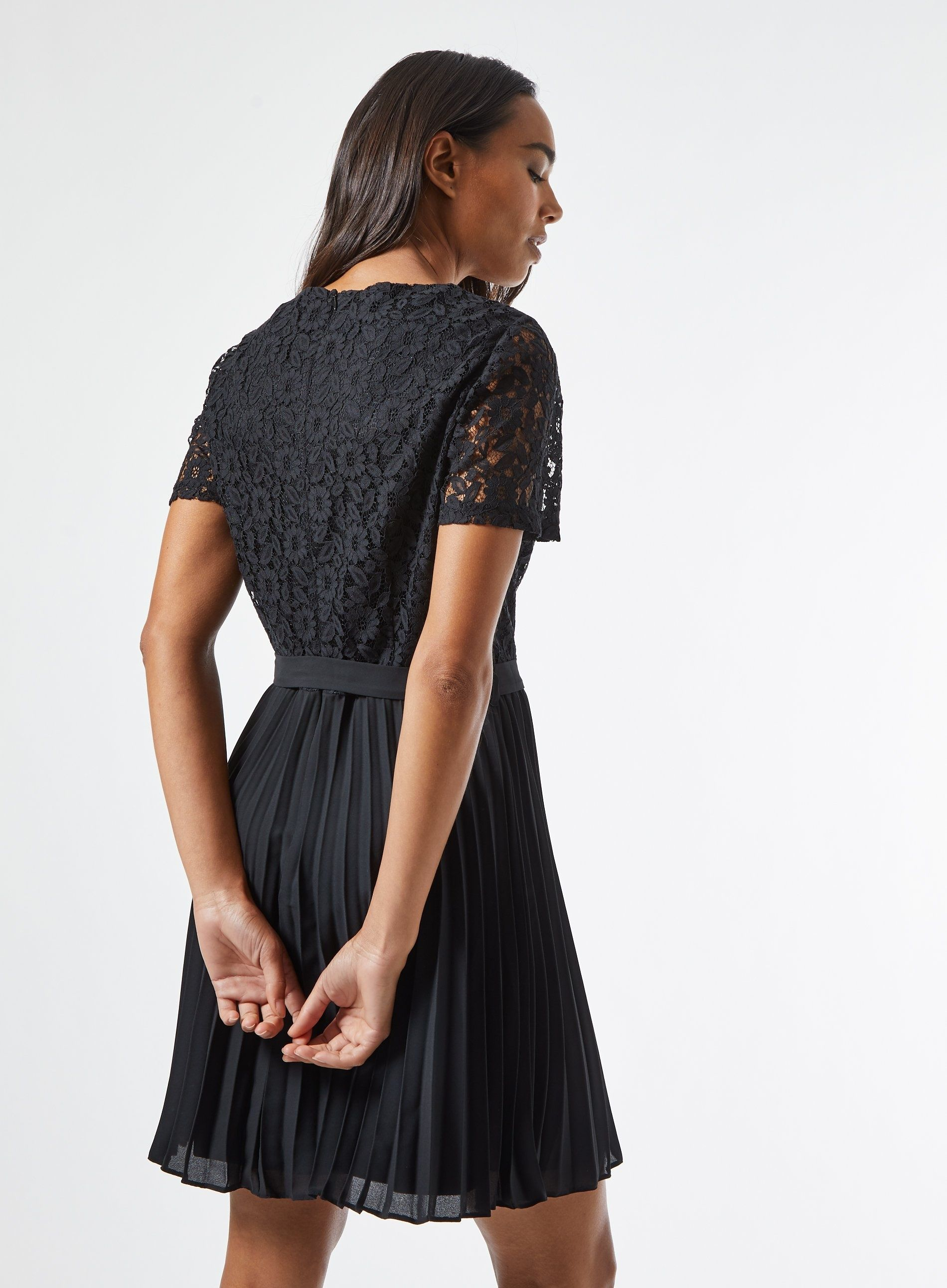 Dorothy Perkins Womens Black Mini Lace Dress Short Sleeve Round Neck Loose Fit
