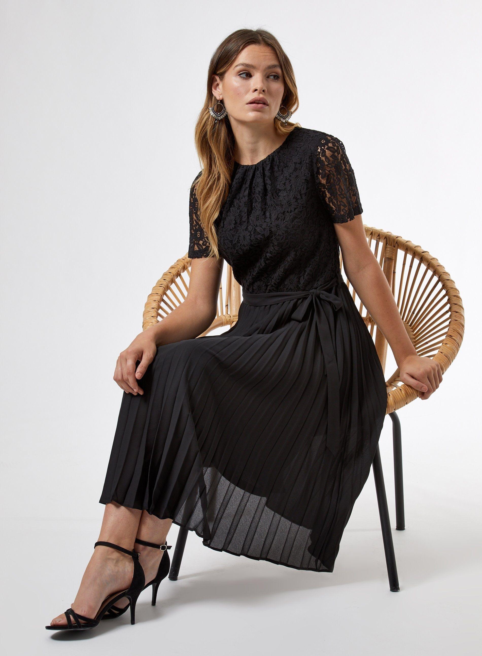 Dorothy Perkins Womens Black Lace Pleat Midi Dress Short Sleeve Round Neck