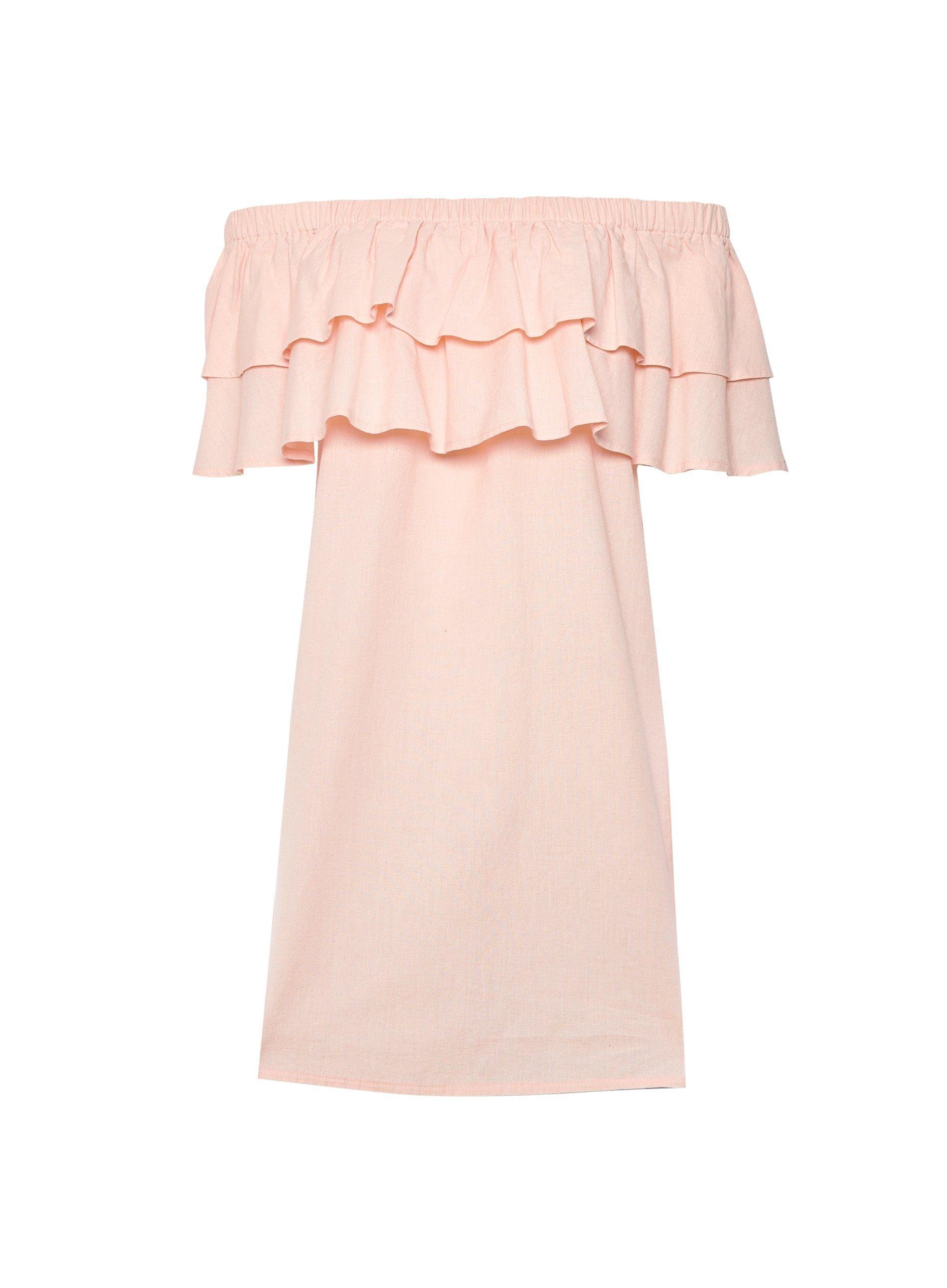 Dorothy Perkins Womens Pink Double Frill Bardot Mini Dress Shoulderless