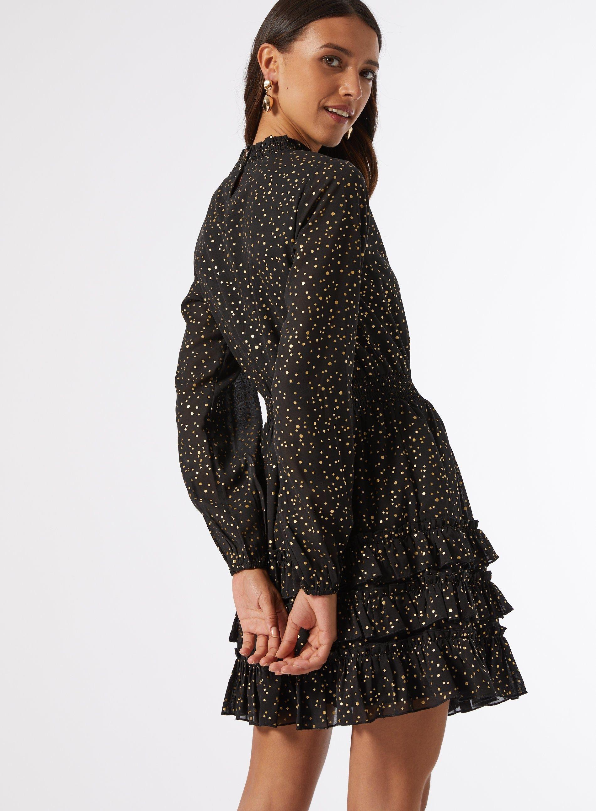 Dorothy Perkins Womens Gold Woven Foil Mini Dress Long Sleeve Mock Neck