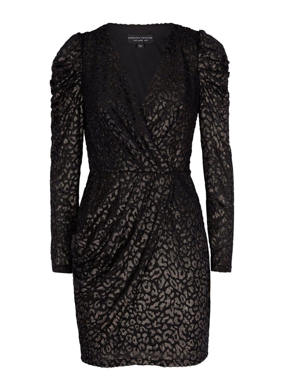 Dorothy Perkins Womens Black Wrap Leopard Print Mini Bodycon Dress Fashion Wear