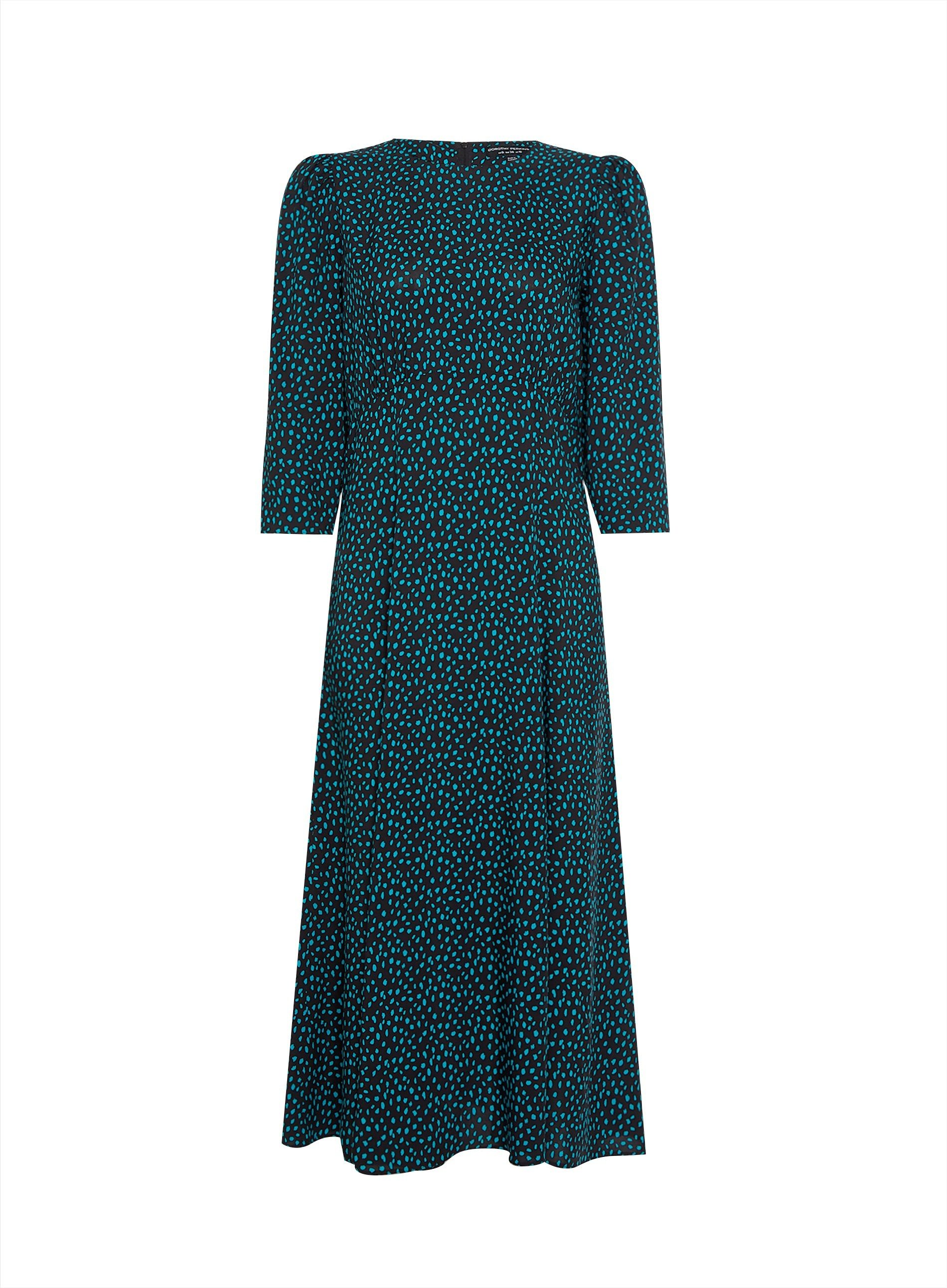 Dorothy Perkins Womens Green Spot Empire Midi Dress 3/4 Sleeve Round Neck