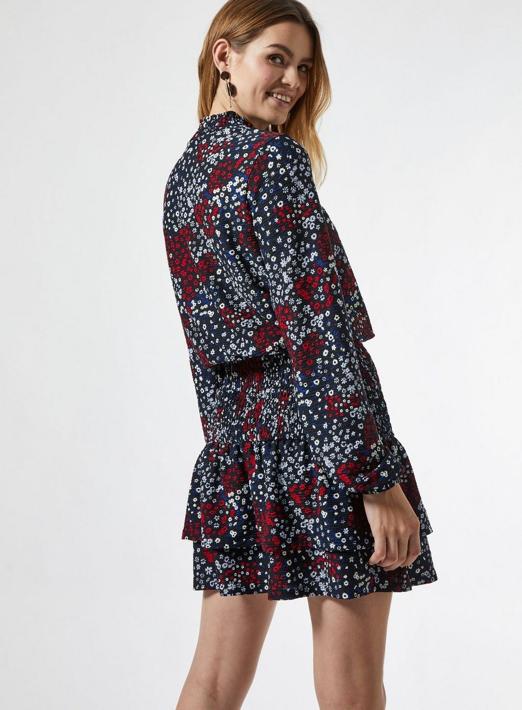 Dorothy Perkins Womens Black Ditsy Sheered Mini Dress Long Sleeve Daywear Top