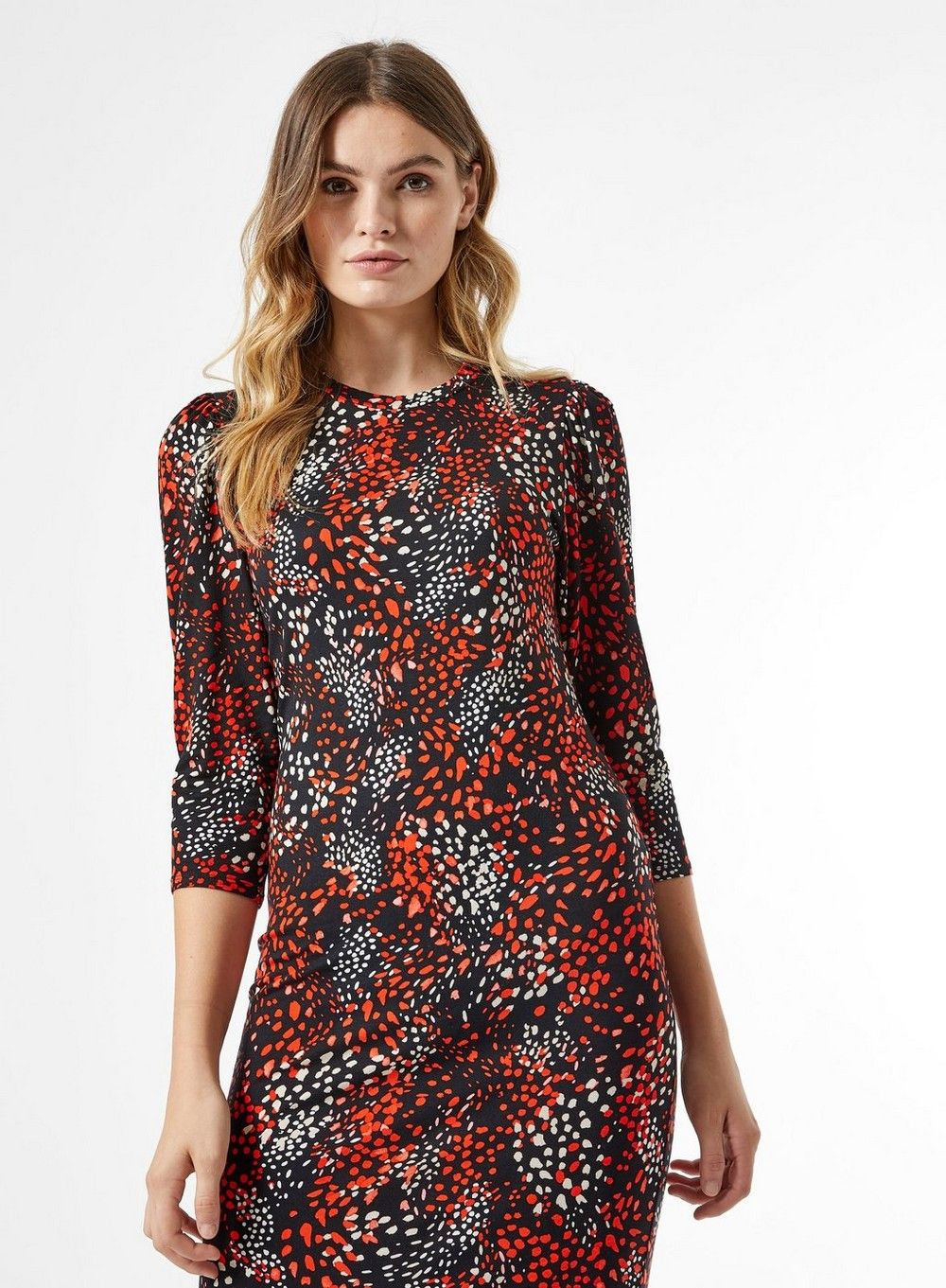 Dorothy Perkins Womens Black and Red Pattern Bodycon Midi Dress Spring Casual