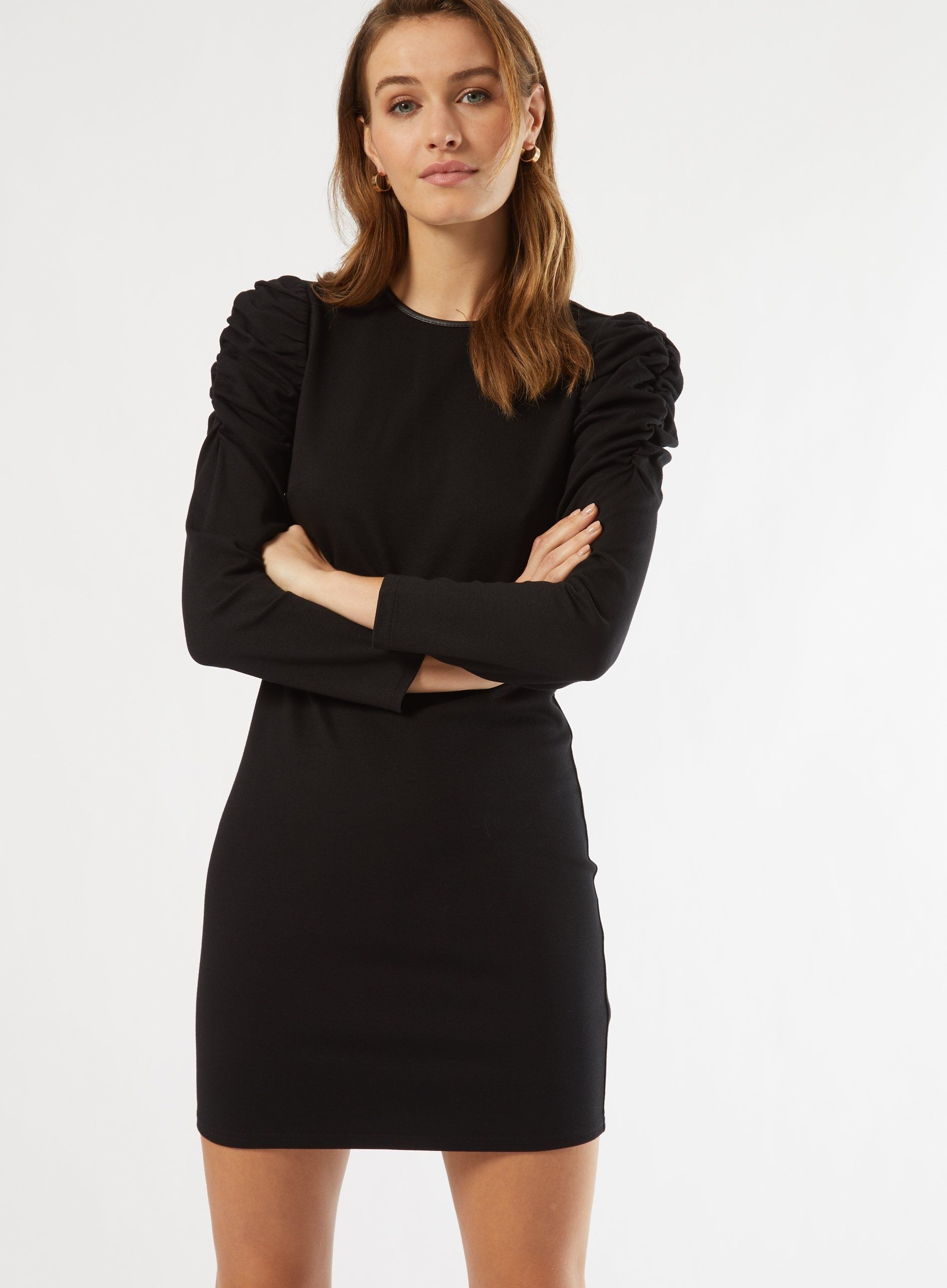 Dorothy Perkins Womens Black Ruched Sleeve Shift Dress Round Neck Loose Fit