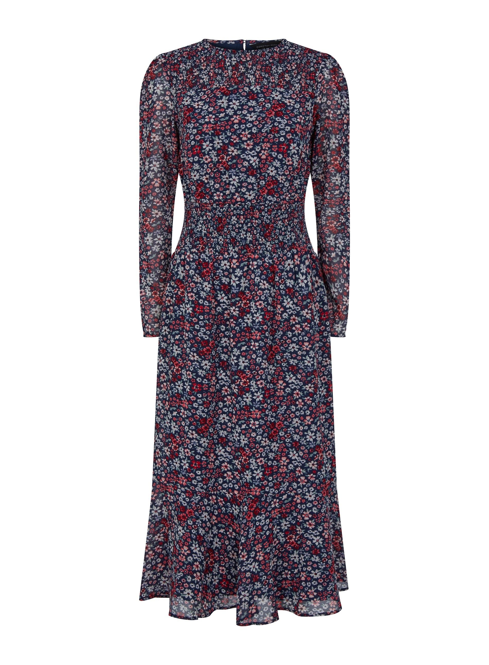 Dorothy Perkins Womens Navy Floral Sheered Midaxi Dress Long Sleeve Round Neck