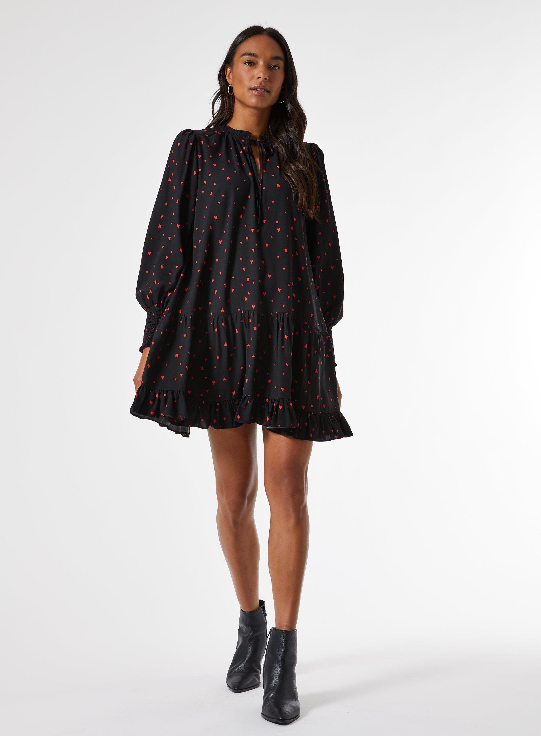 Dorothy Perkins Womens Black Heart Print Smock Mini Dress Long Sleeve Round Neck