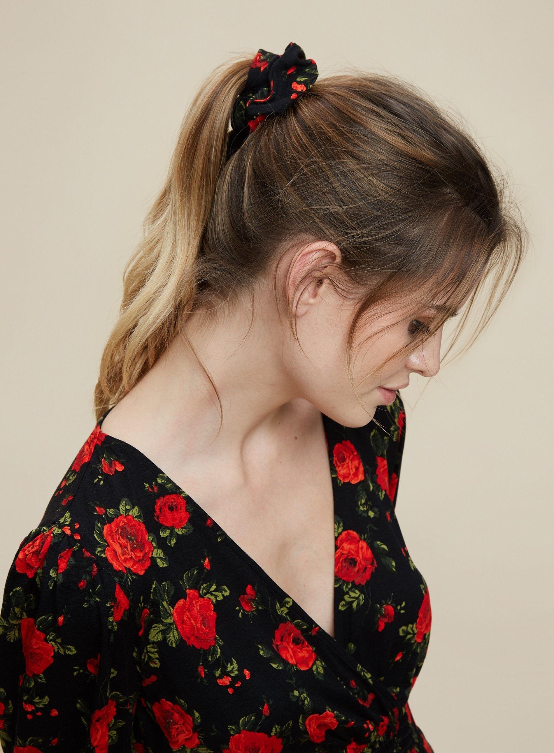 Dorothy Perkins Womens Black Rose Sheered Dress with Scrunchie Mini Long Sleeve