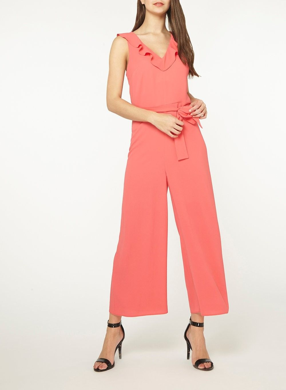 Dorothy Perkins Womens Tall Pink Ruffle Culotte Jumpsuit One Piece Belted