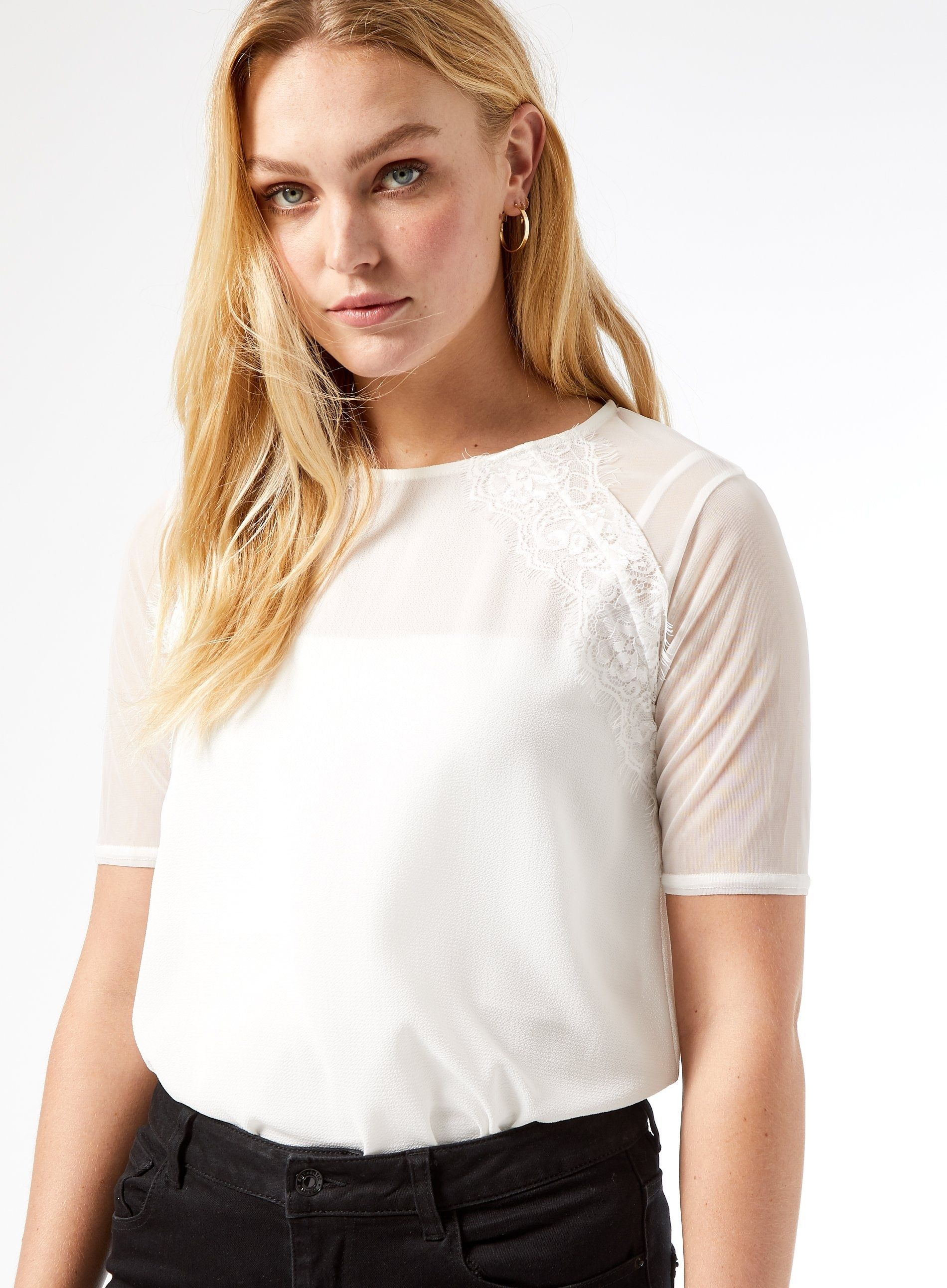 Dorothy Perkins Womens Tall White Lace Insert T-Shirt Short Sleeve Blouse Top