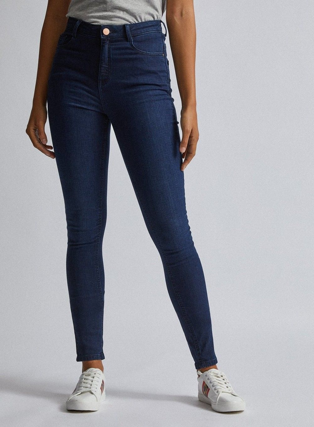 Dorothy Perkins Womens Tall Blue Shape and Lift High Rise Skinny Jeans Slimming