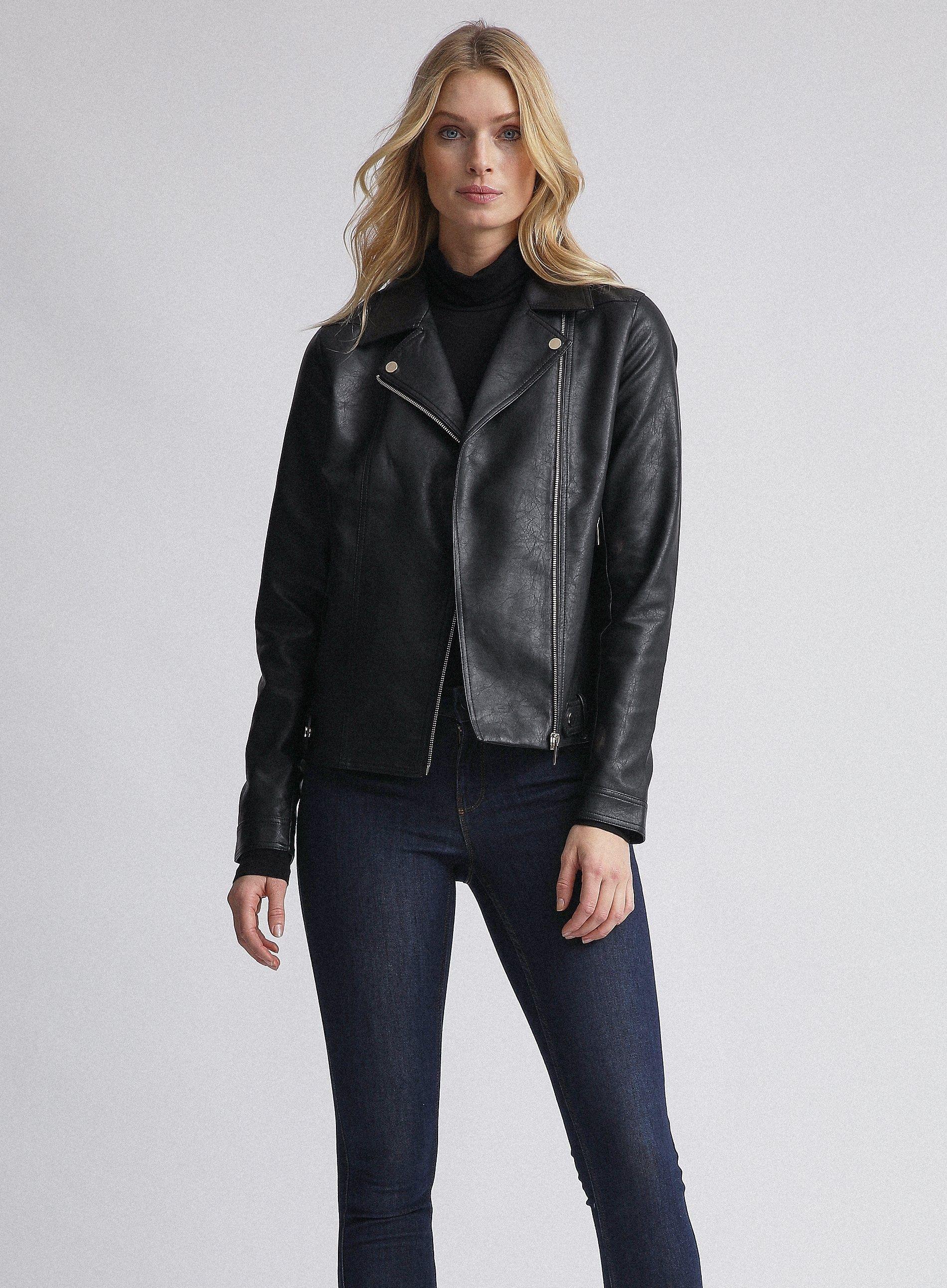 Dorothy Perkins Womens Tall Black PU Biker Jacket Long Sleeve Top Outerwear