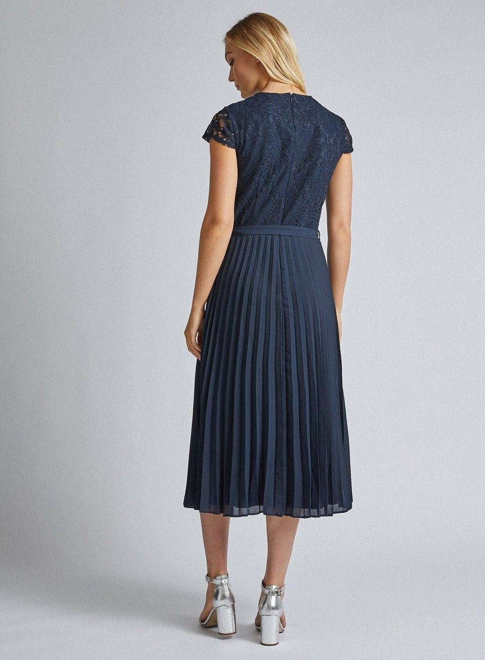 Dorothy Perkins Womens Tall Navy Blue Lace Pleated Dress Short Sleeve Round Neck