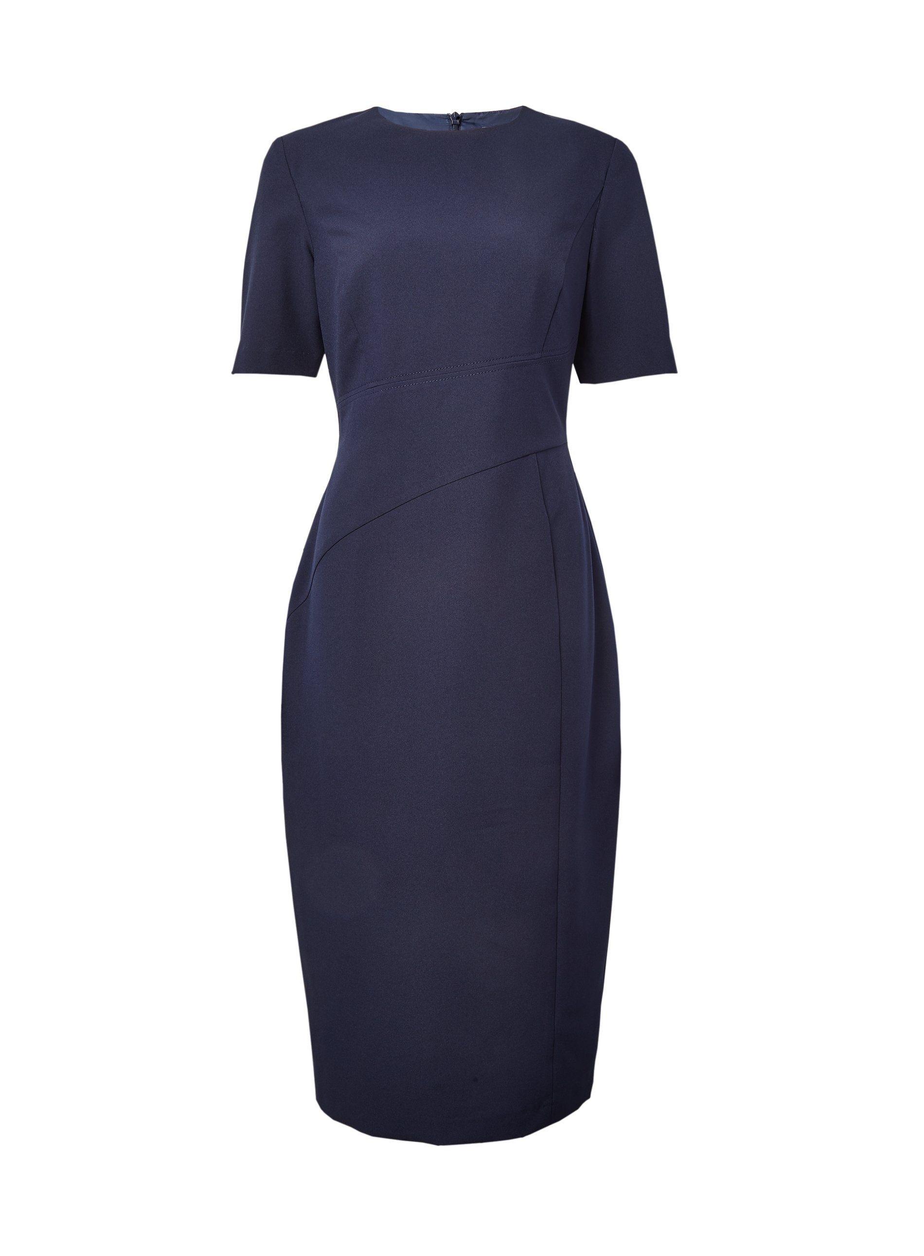 Dorothy Perkins Womens Tall Navy Centre Seam Pencil Midi Dress Round Neck
