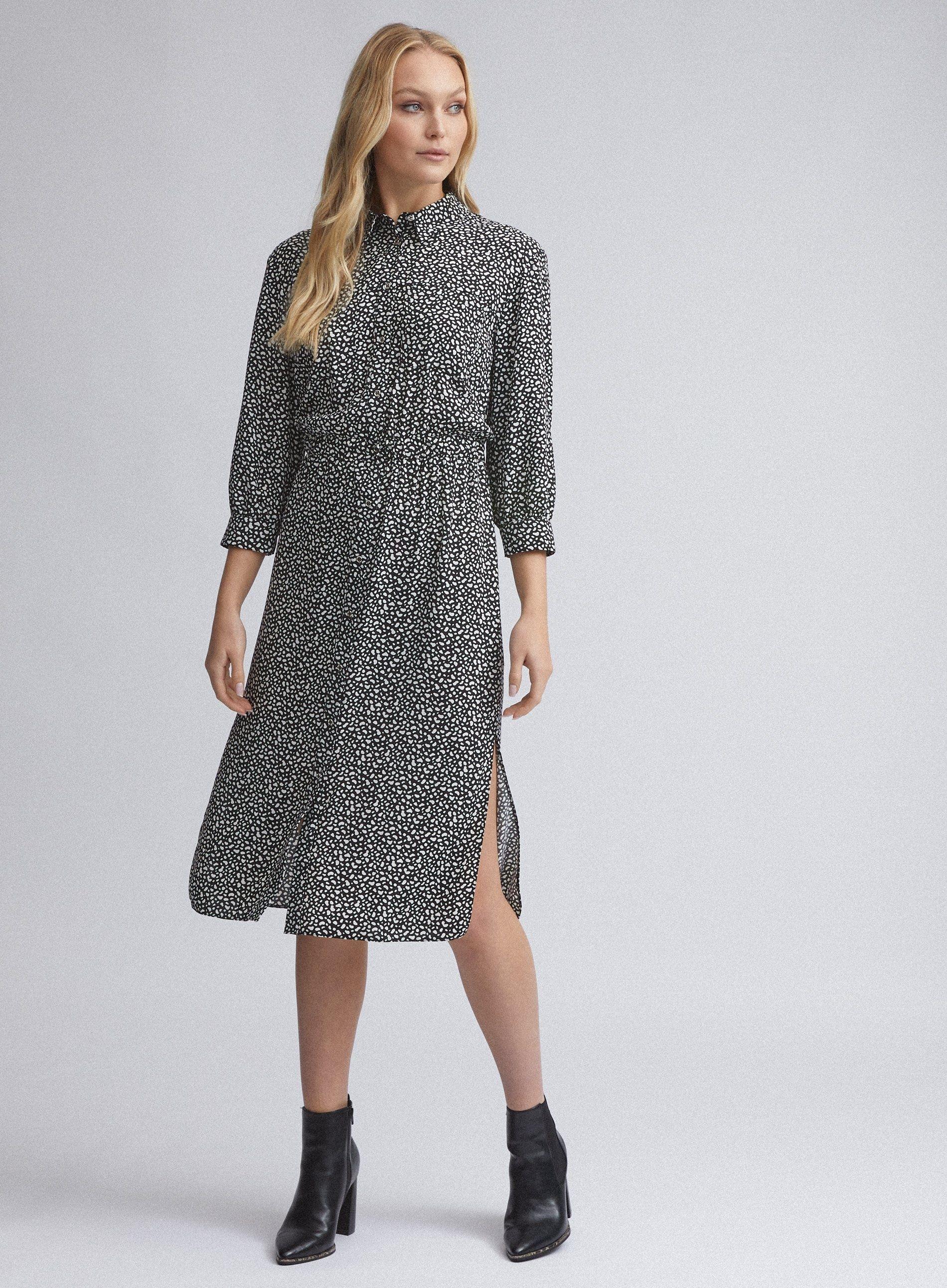 Dorothy Perkins Womens Tall Black Pebble Print Midi Shirt Dress 3/4 Sleeve