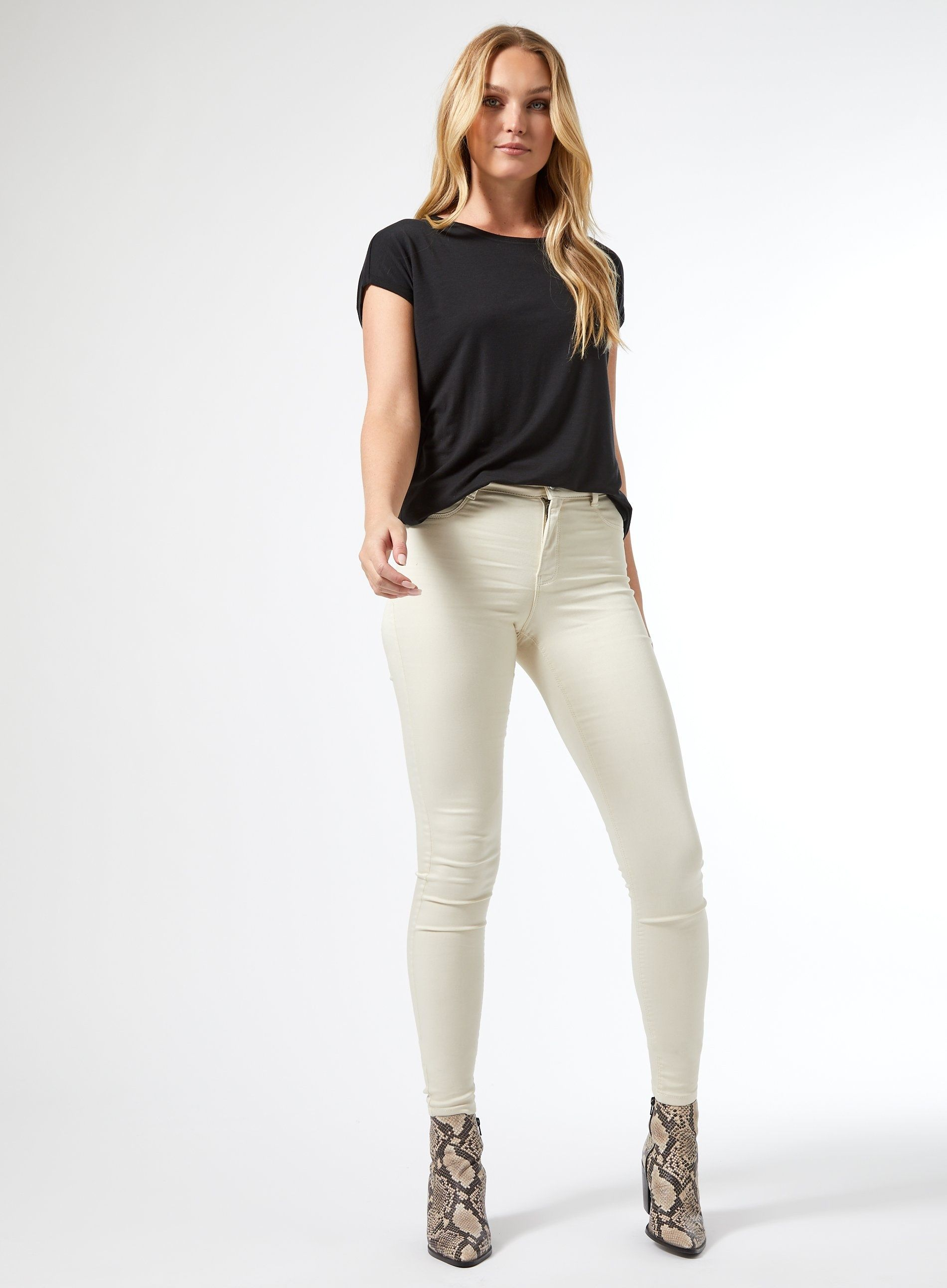 Dorothy Perkins Womens Tall Ivory Frankie Denim Jeans Mid Rise Soft Skinny Pants