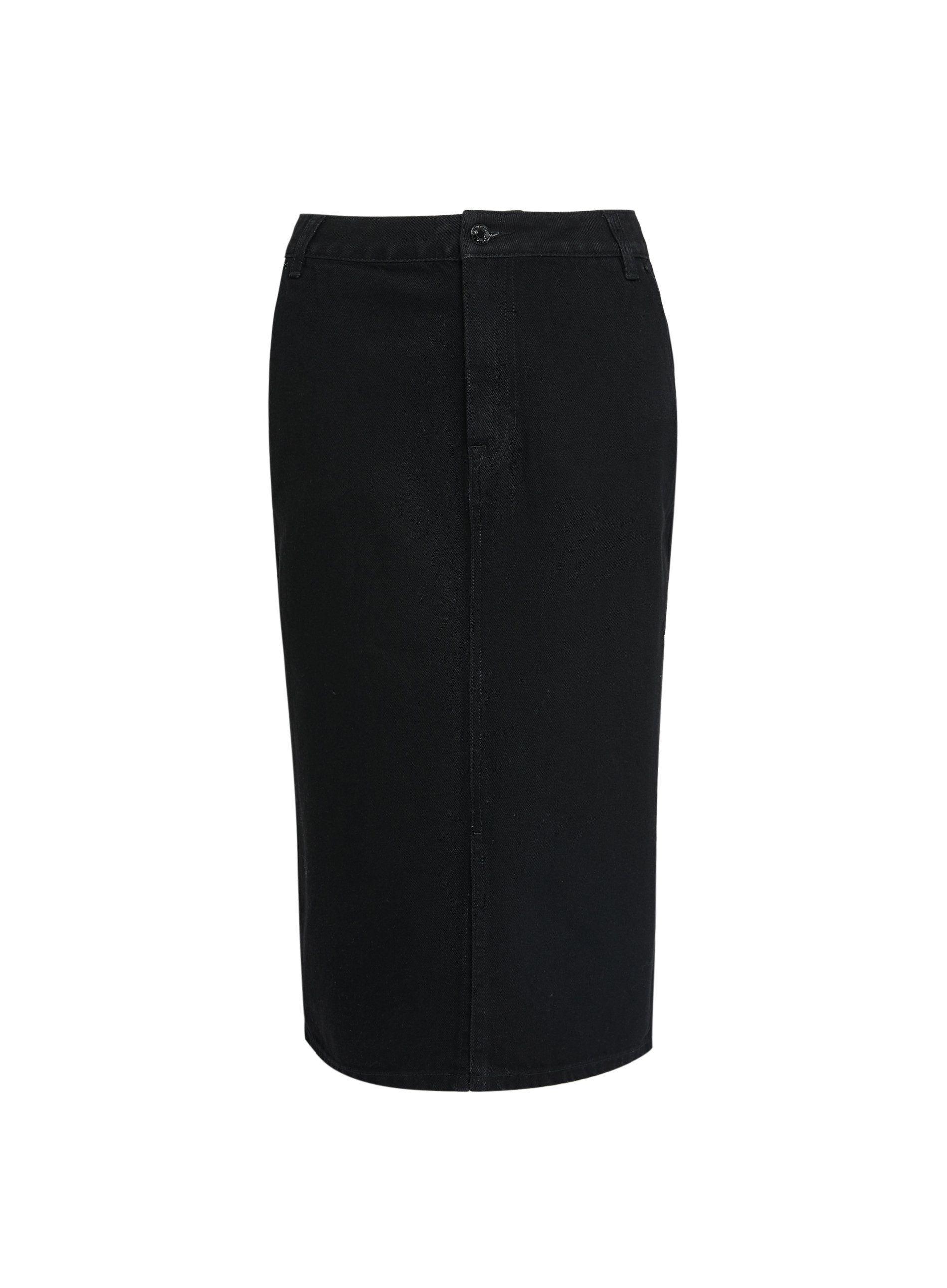 Dorothy Perkins Womens Tall Black Denim Midi Pencil Skirt Front Button Bottoms