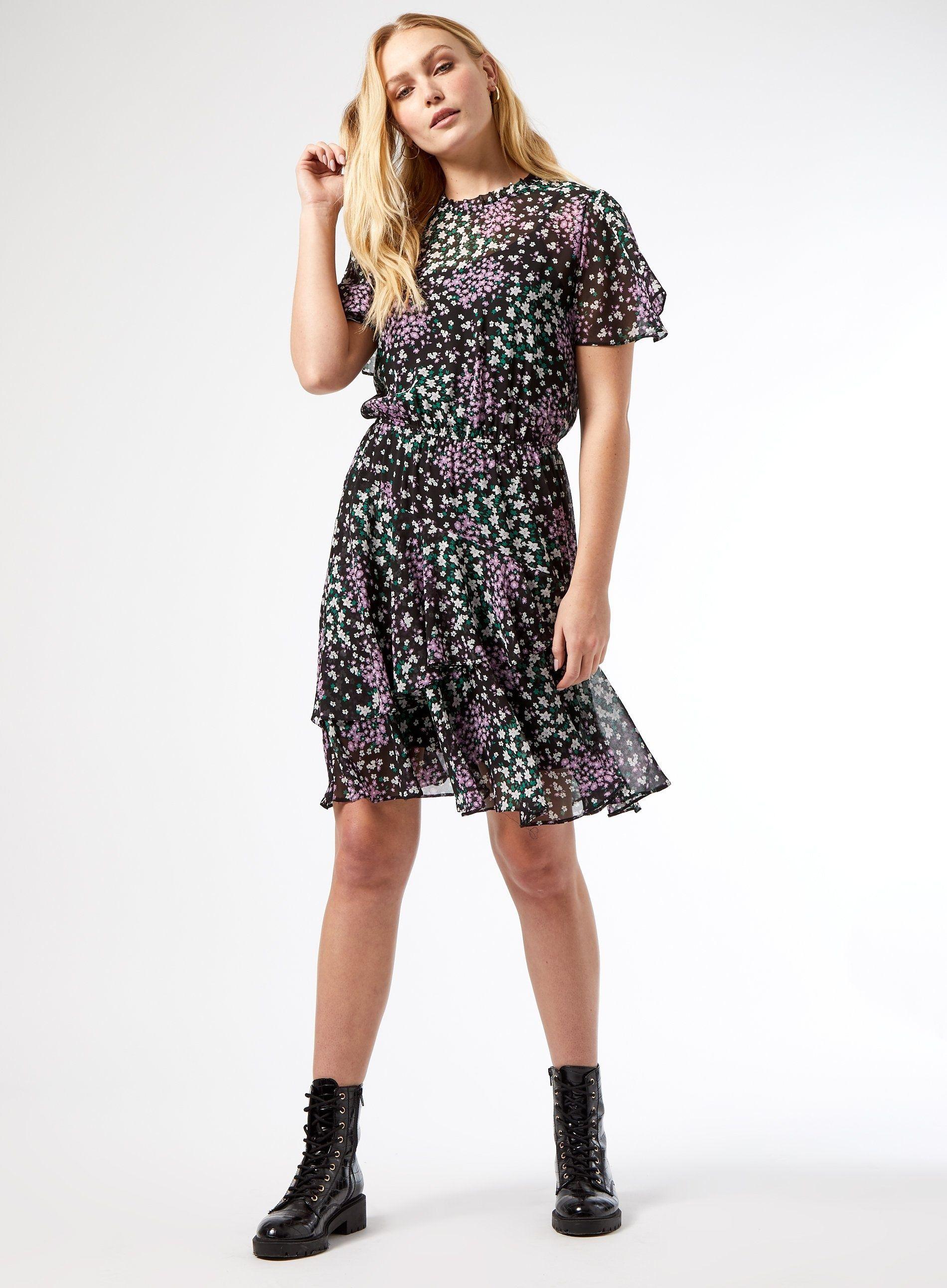 Dorothy Perkins Womens Tall Multi Fit & Flare Mini Dress Round Neck Short Sleeve