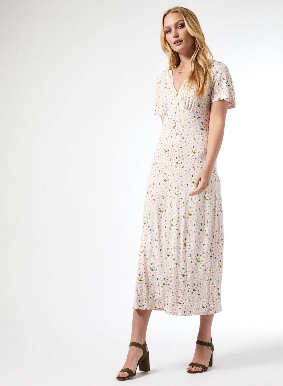 Dorothy Perkins Womens Tall Pink Floral Print Midi Jersey Dress Casual Summer