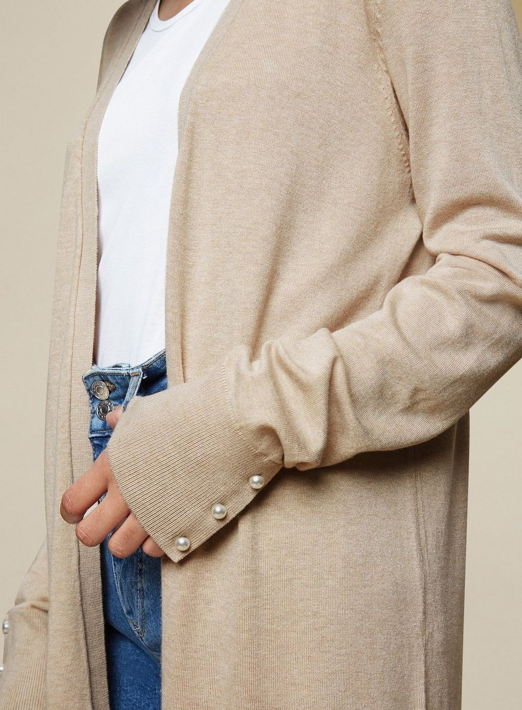 Dorothy Perkins Womens Tall Oatmeal Pearl Cardigan Knitwear Jumper Top