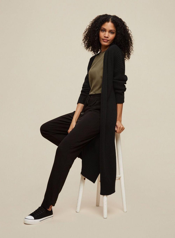 Dorothy Perkins Womens Tall Longline Ribbed Cardigan Knitwear Jumper Top