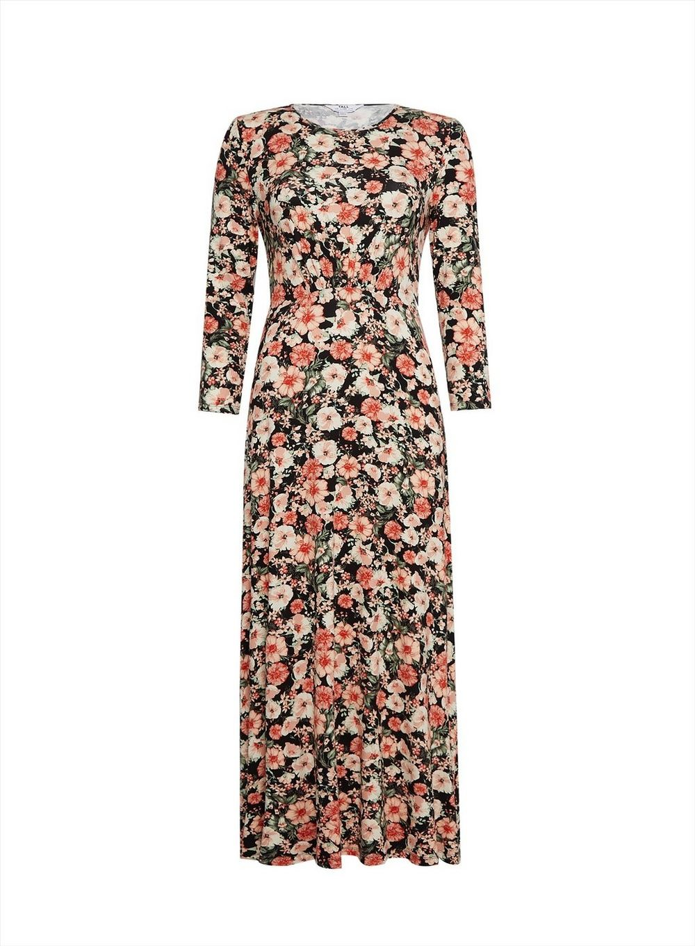 Dorothy Perkins Womens Tall Black Floral Dress 3/4 Sleeve Round Neck Relaxed