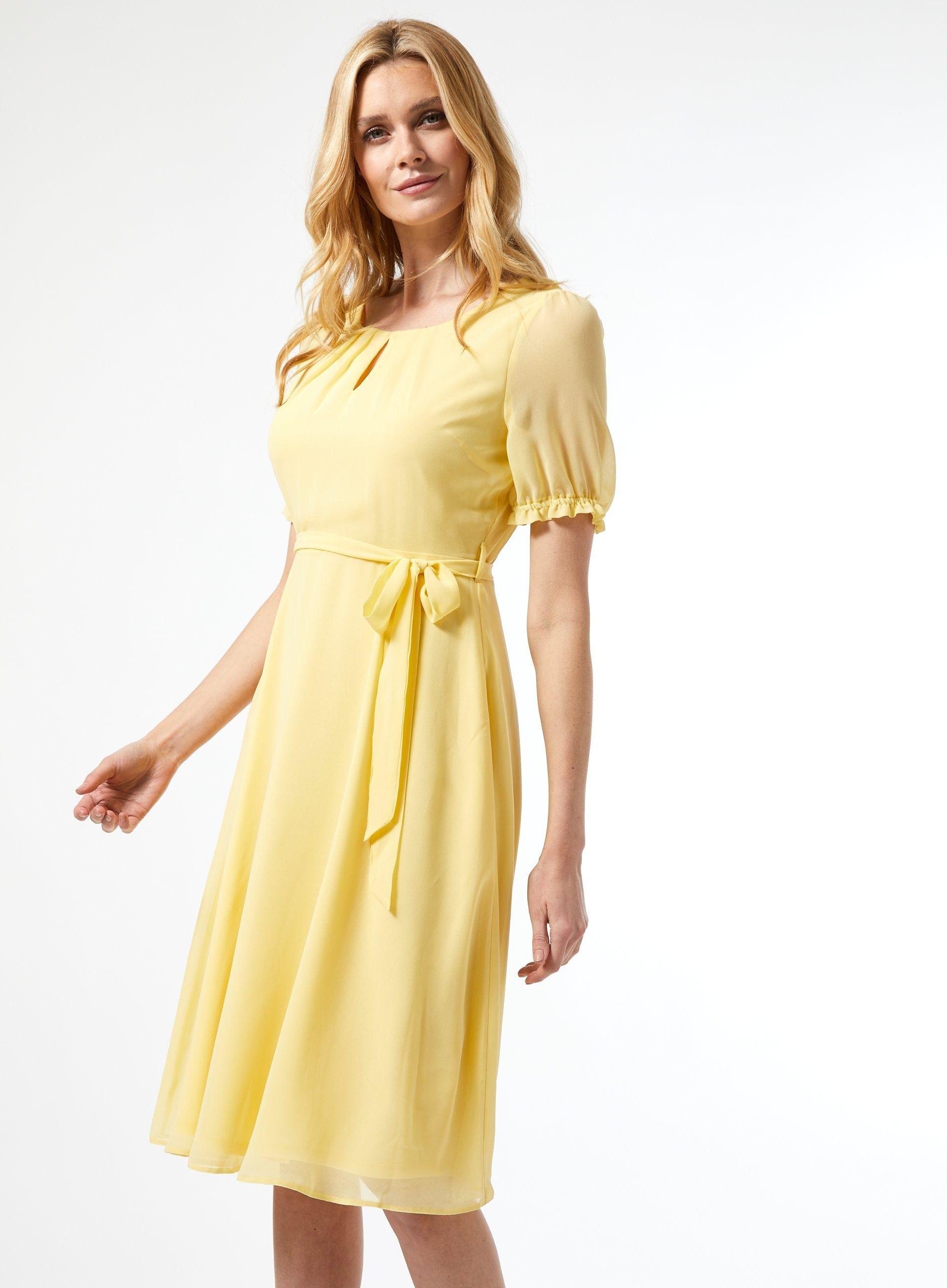 Dorothy Perkins Womens Billie & Blossom Yellow Puff Sleeve Midi Dress Scoop Neck