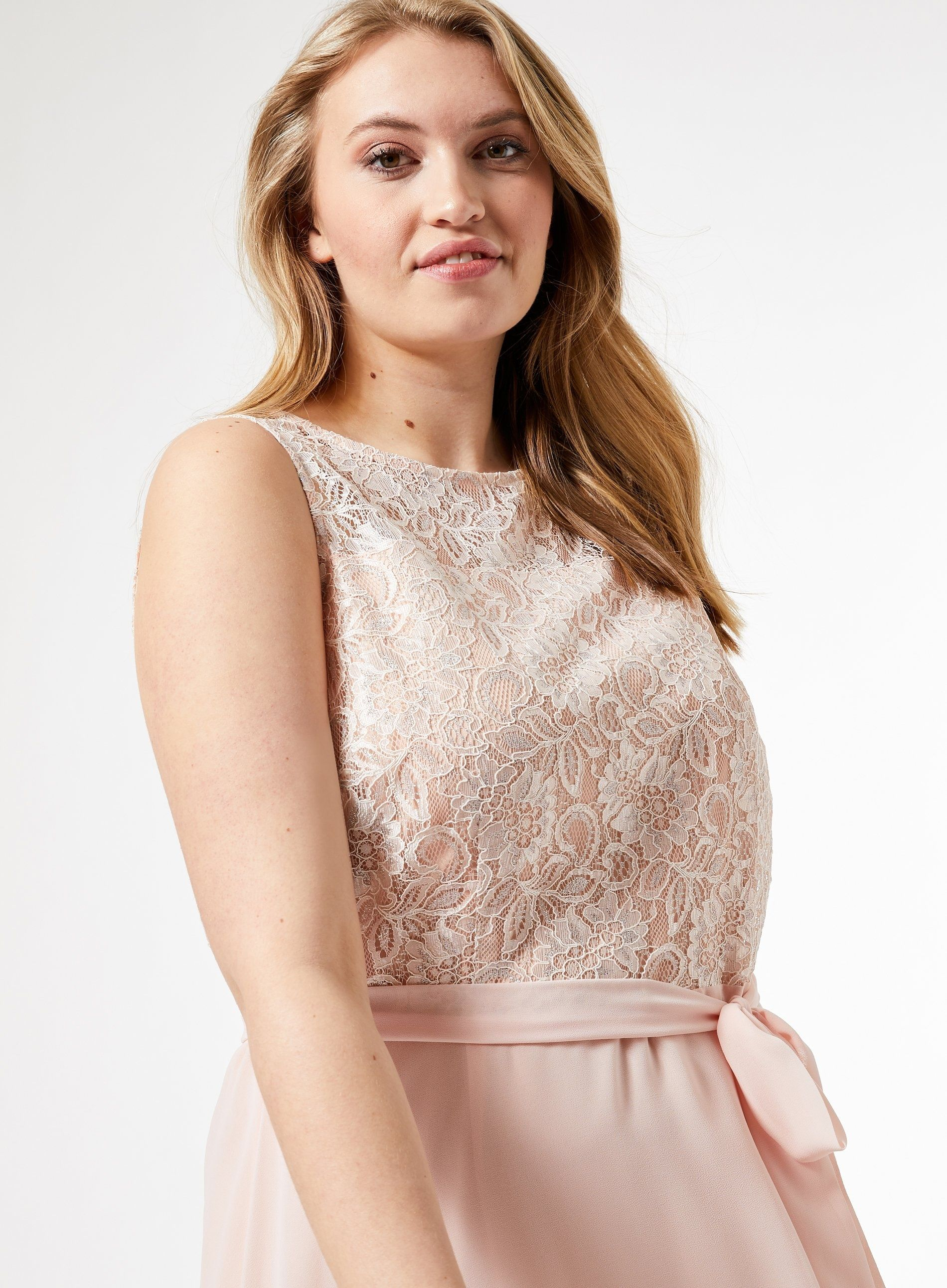Dorothy Perkins Womens Billie & Blossom Curve Pink Lace Hanky Hem Midi Dress