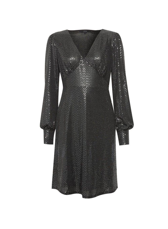 Dorothy Perkins Womens Vero Moda Black Short Skater Dress Long Sleeve V-Neck
