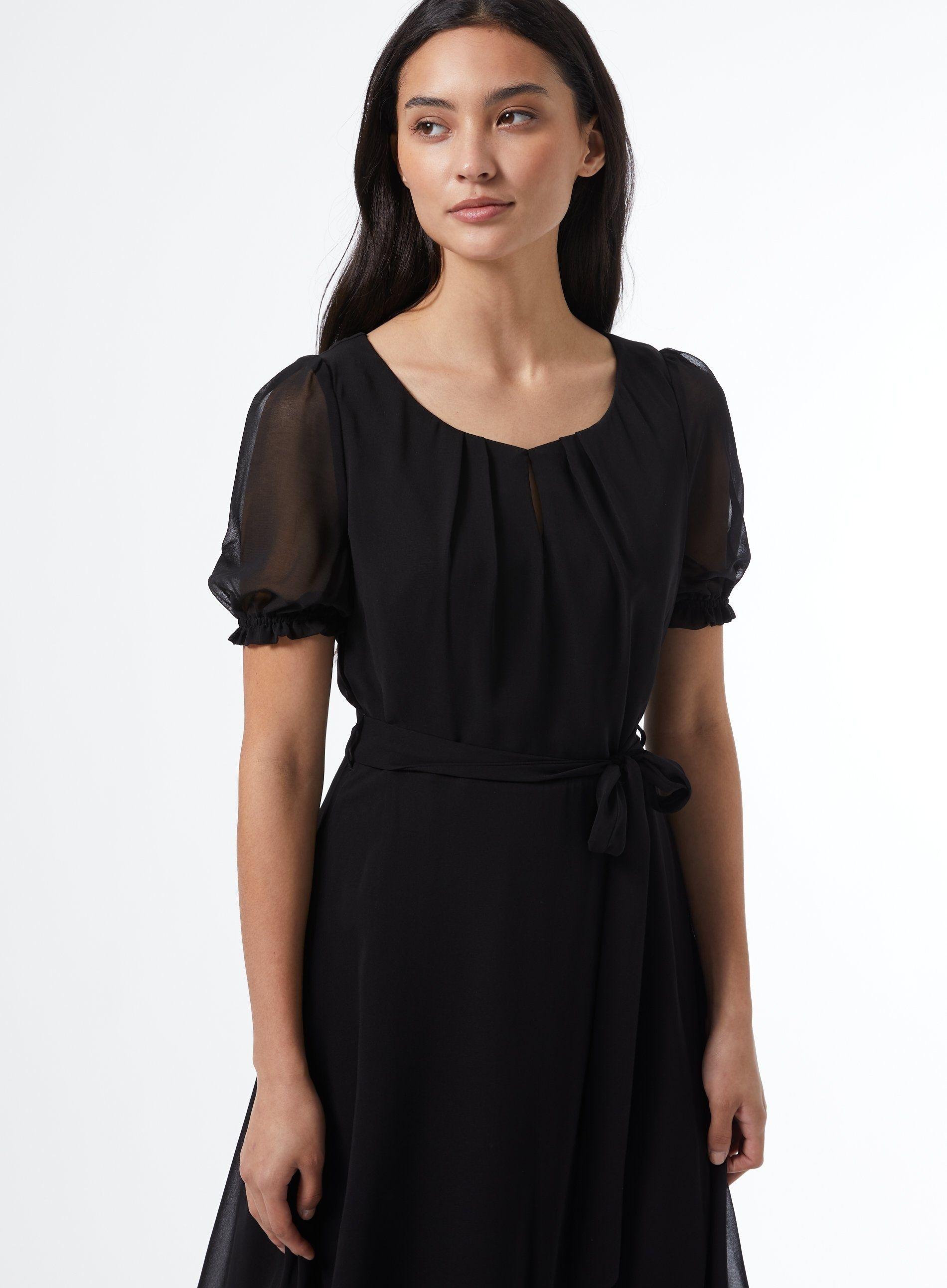 Dorothy Perkins Womens Billie & Blossom Petite Black Key Hole Dress Short Sleeve