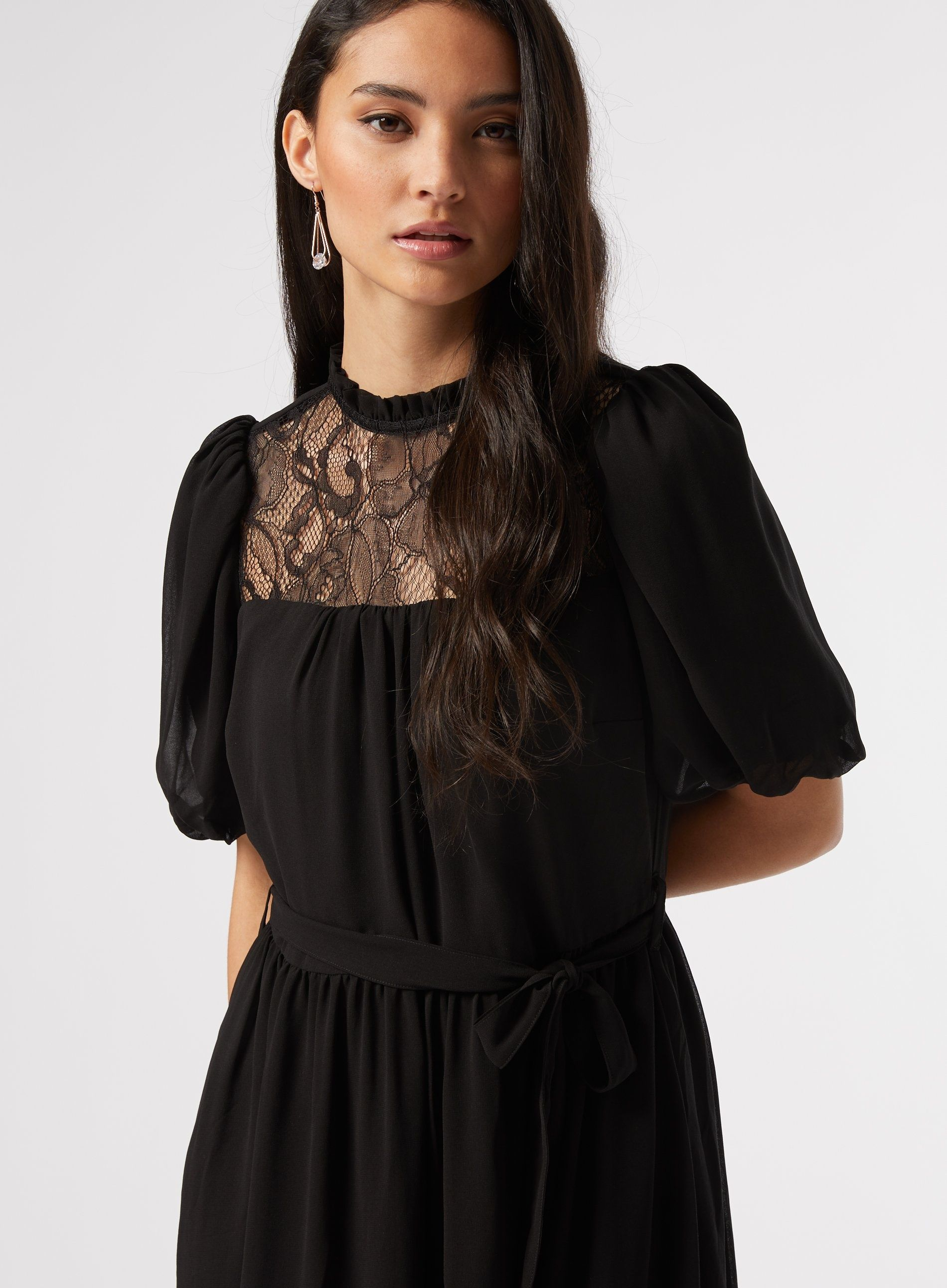 Dorothy Perkins Womens Petite Black Lace Fit Flare Chiffon Pullover Dress
