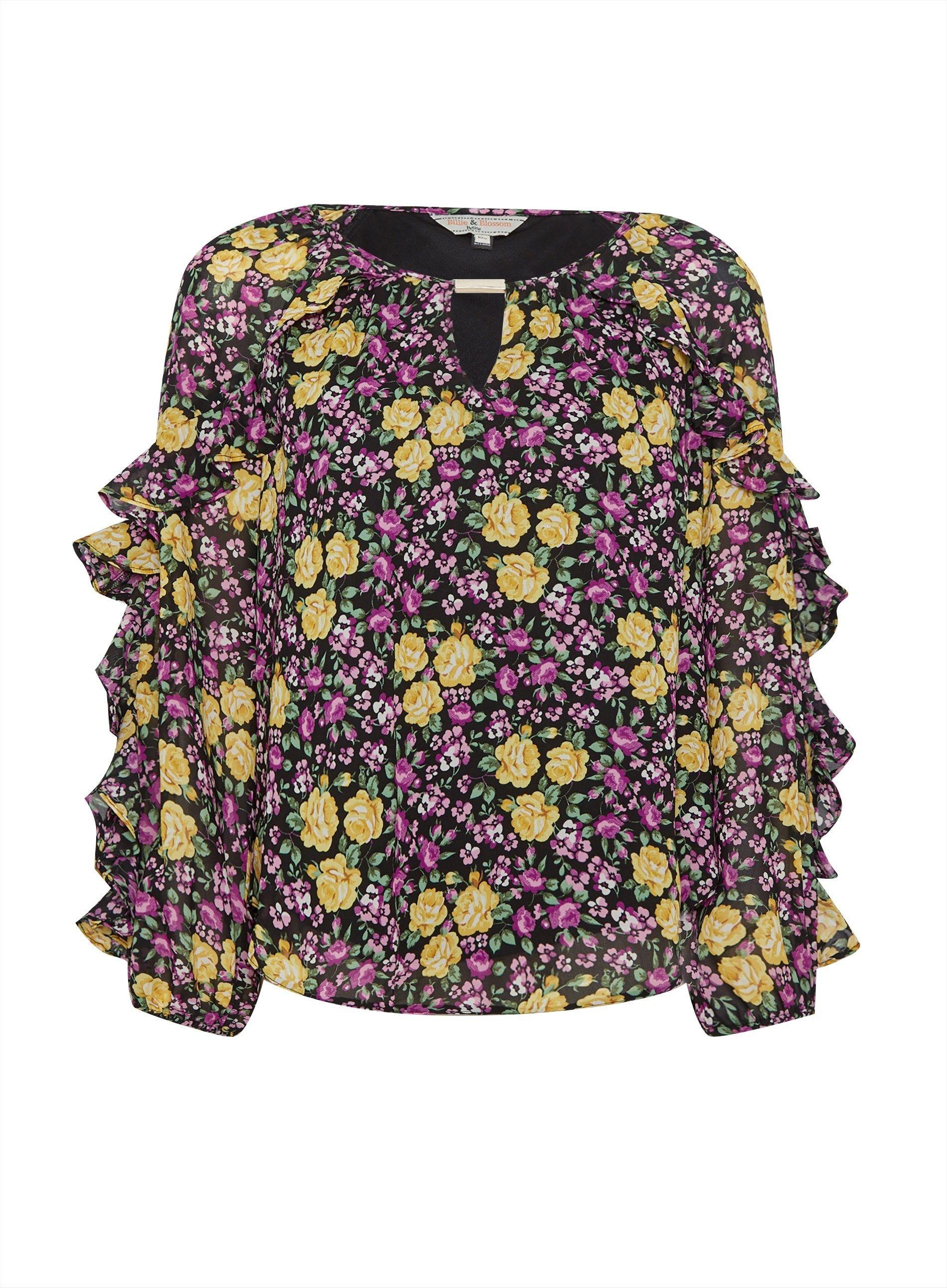 Dorothy Perkins Womens Petite Black Long Sleeve Floral Chiffon Trim Blouse