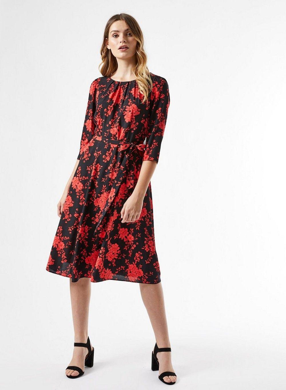 Dorothy Perkins Womens Billie and Blossom Black Floral Print Midi Skater Dress