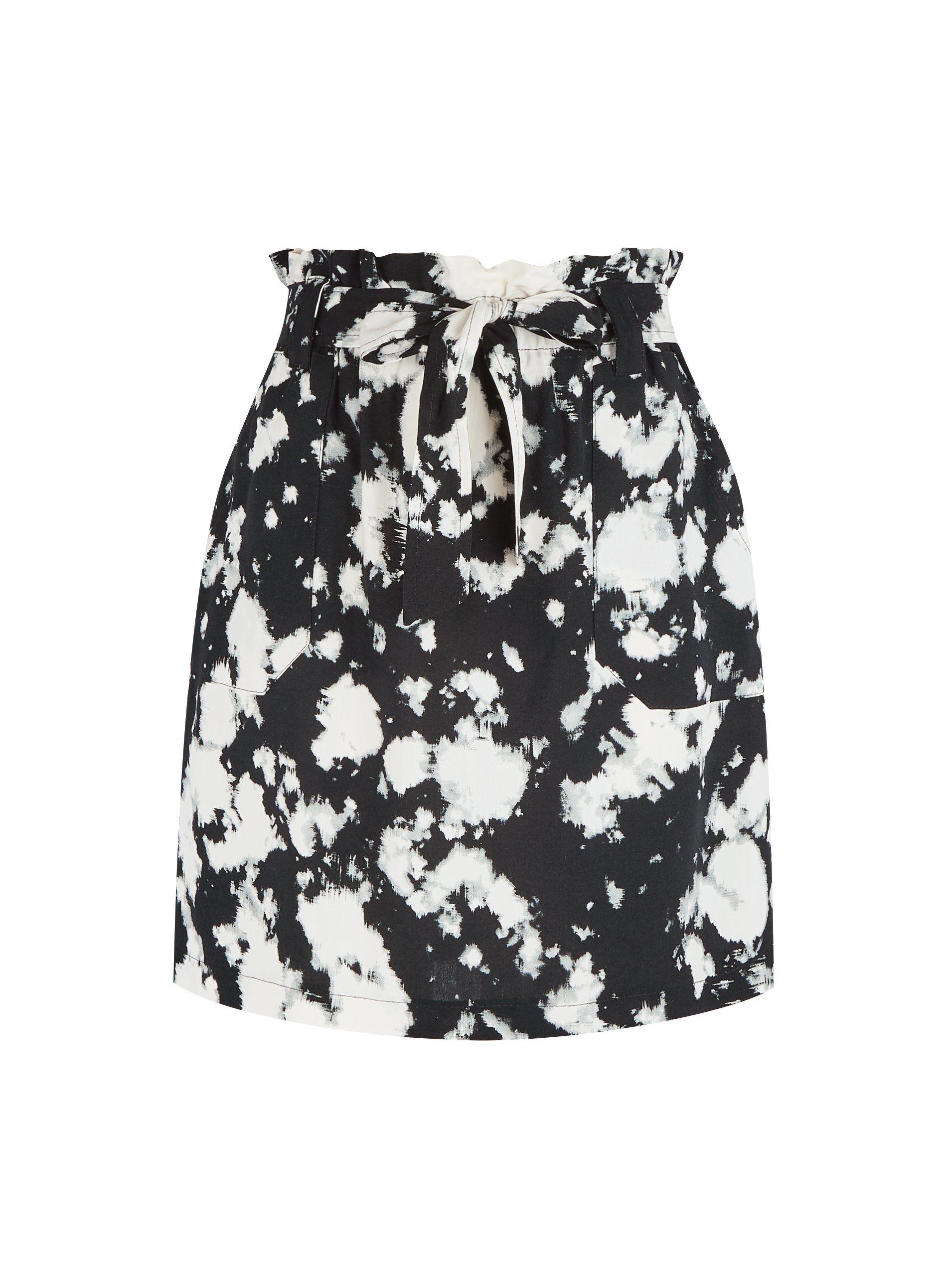 Dorothy Perkins Womens Black Tie Dye Print Waist Tie Mini Skirt Bottoms